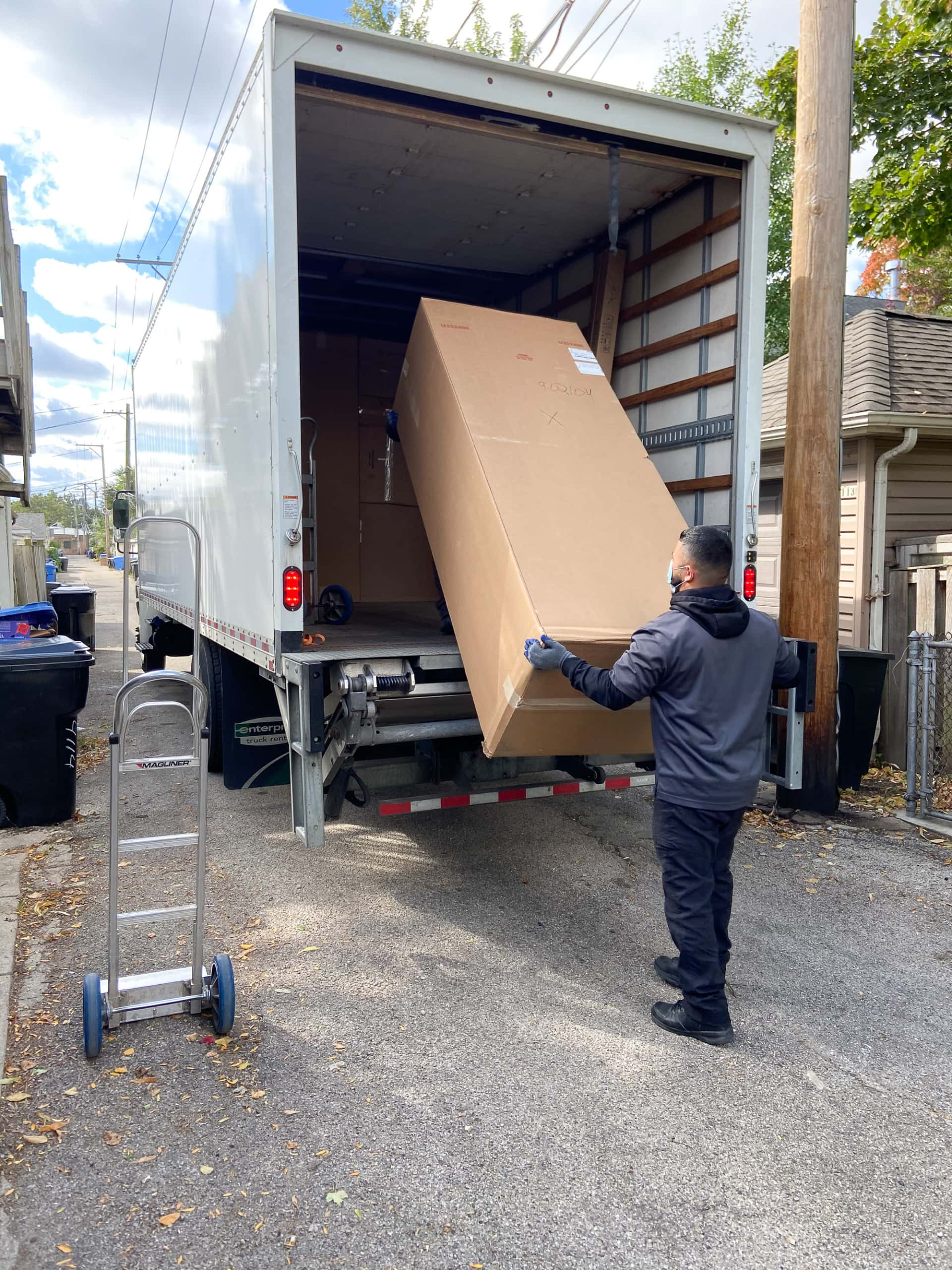 unloading boxes for our kitchen cabinet install