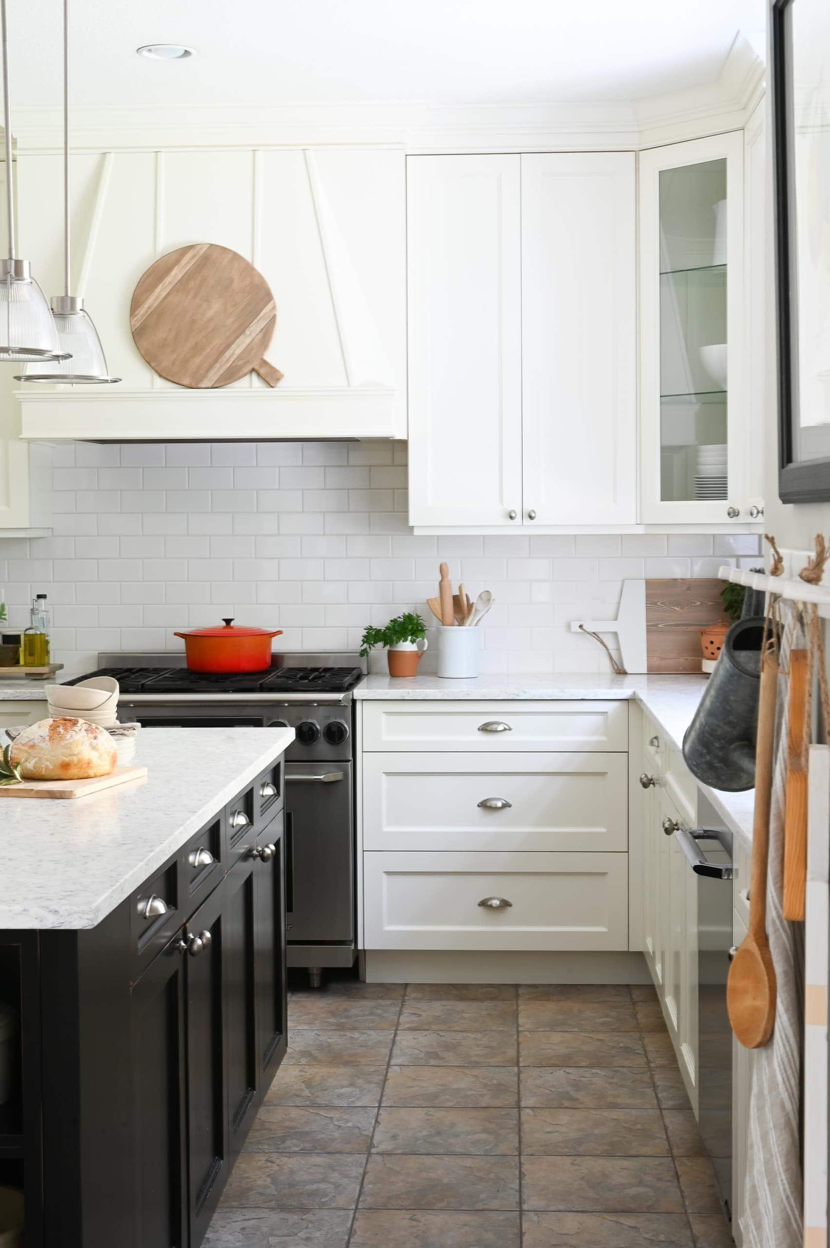 Black and white farmhouse style kitchen