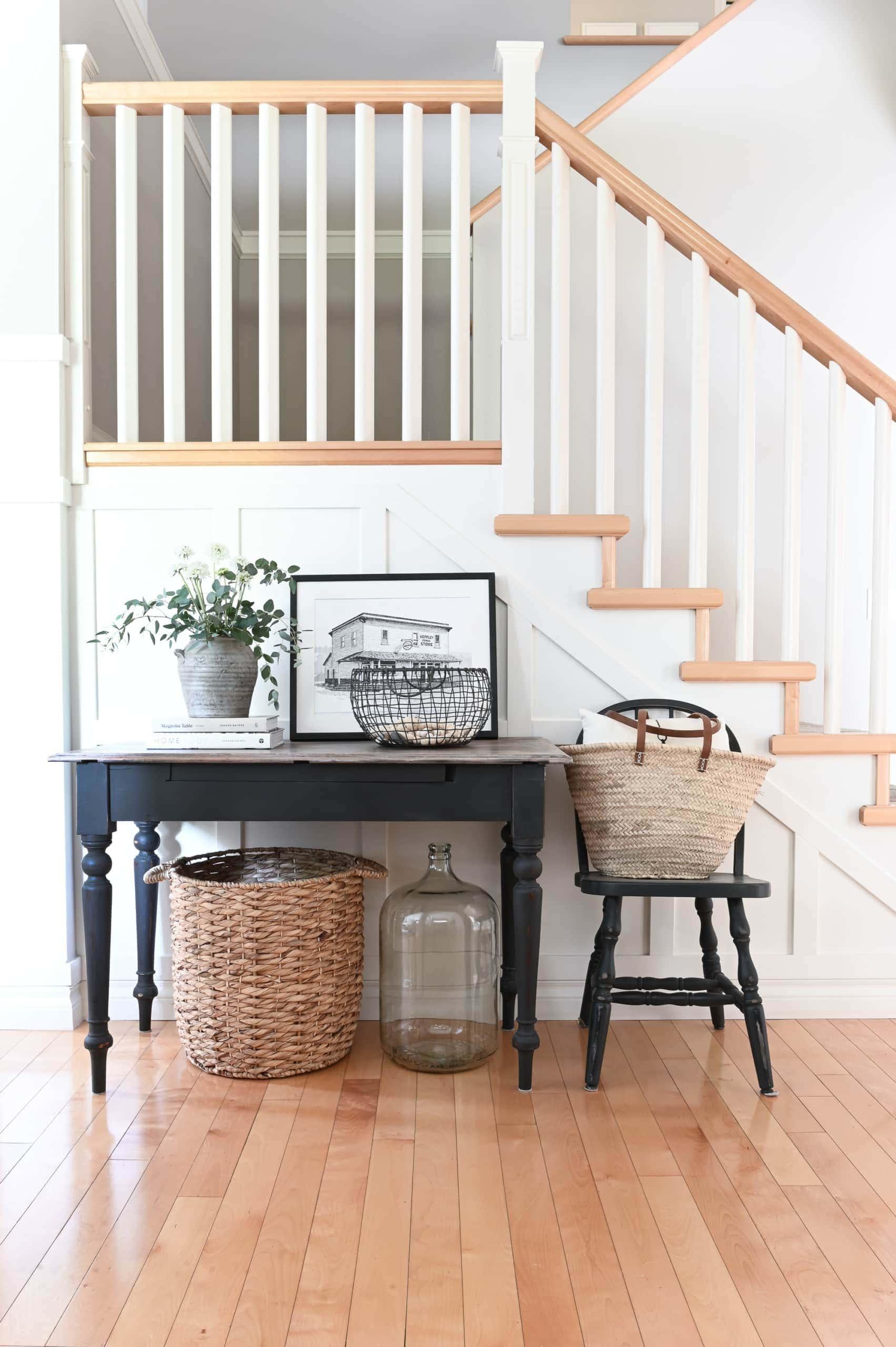 DIY farmhouse style with a black farmhouse style console table