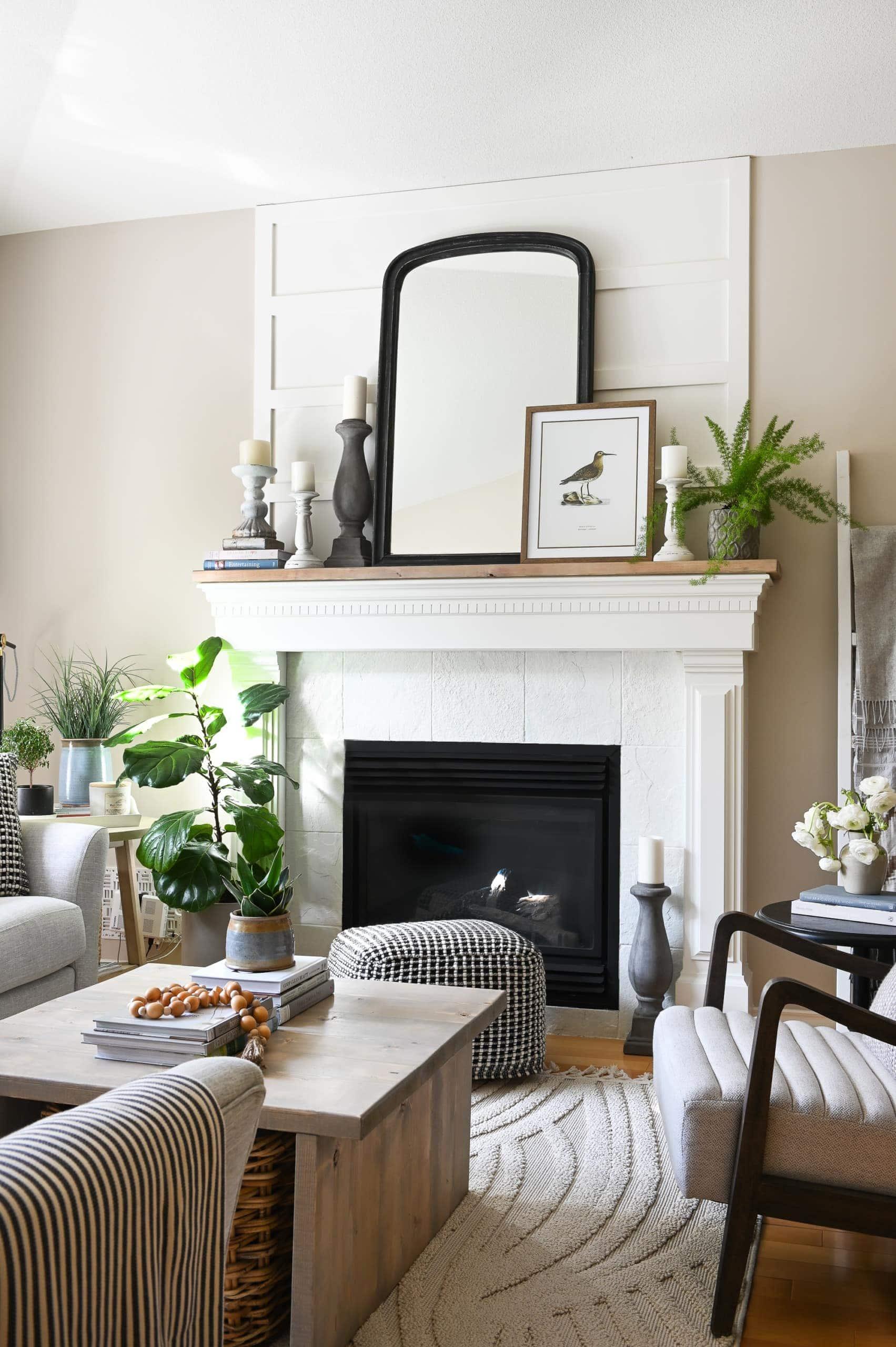 DIY farmhouse style fireplace