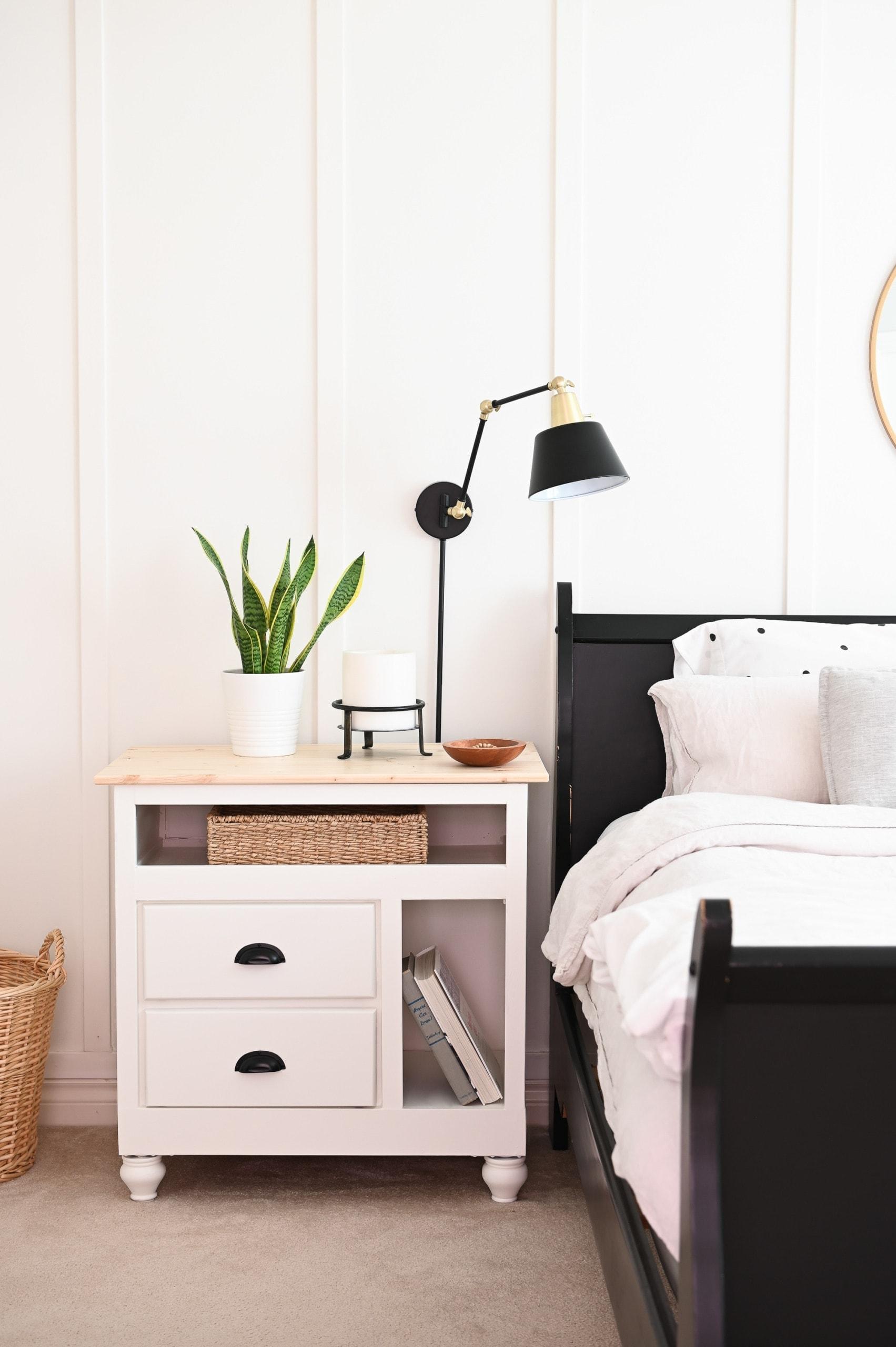 white DIY nightstand