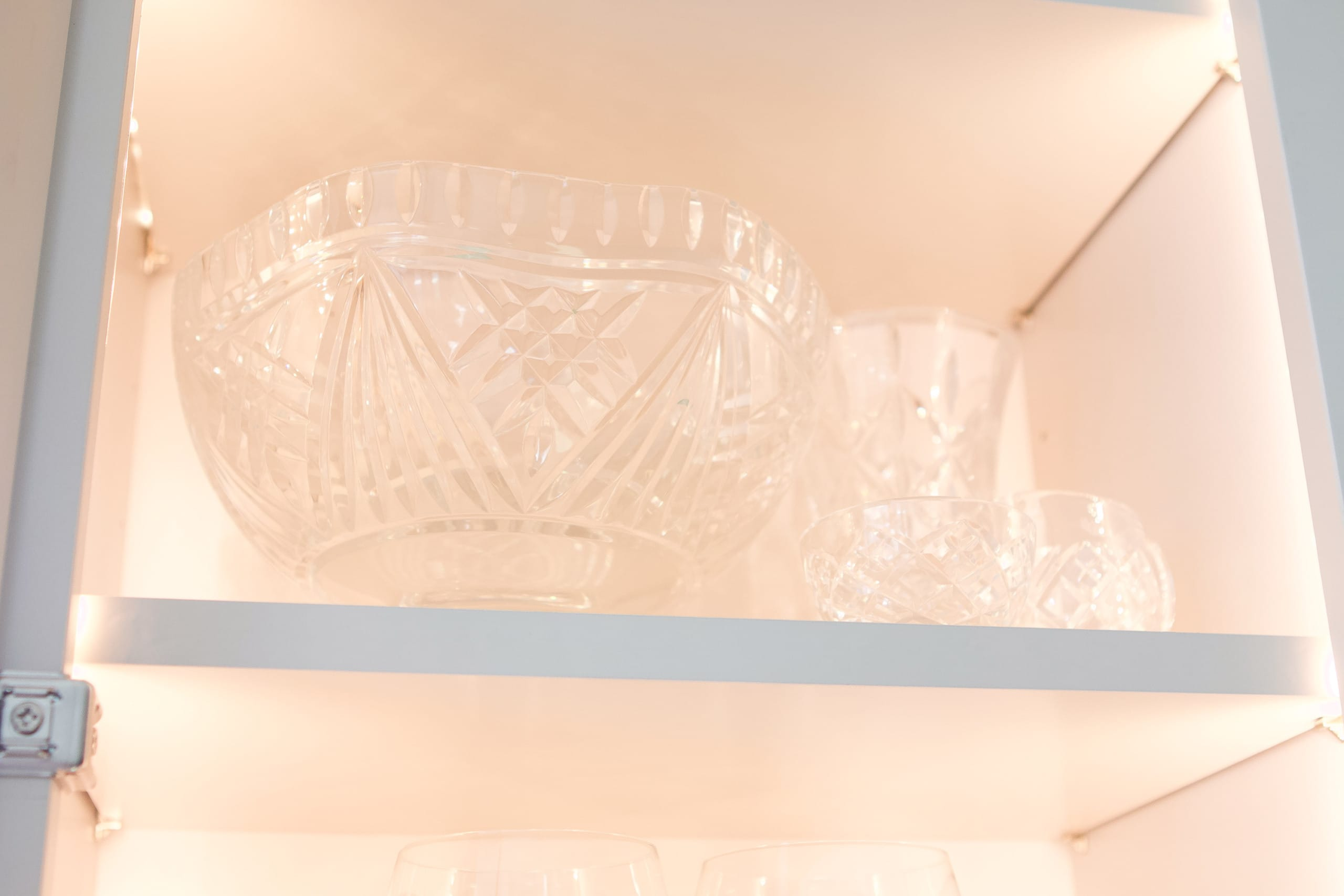 Waterford crystal in the glass cabinets