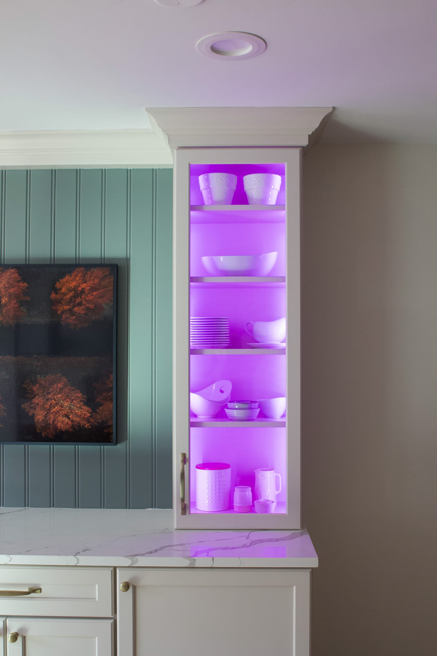 Purple cabinet lighting