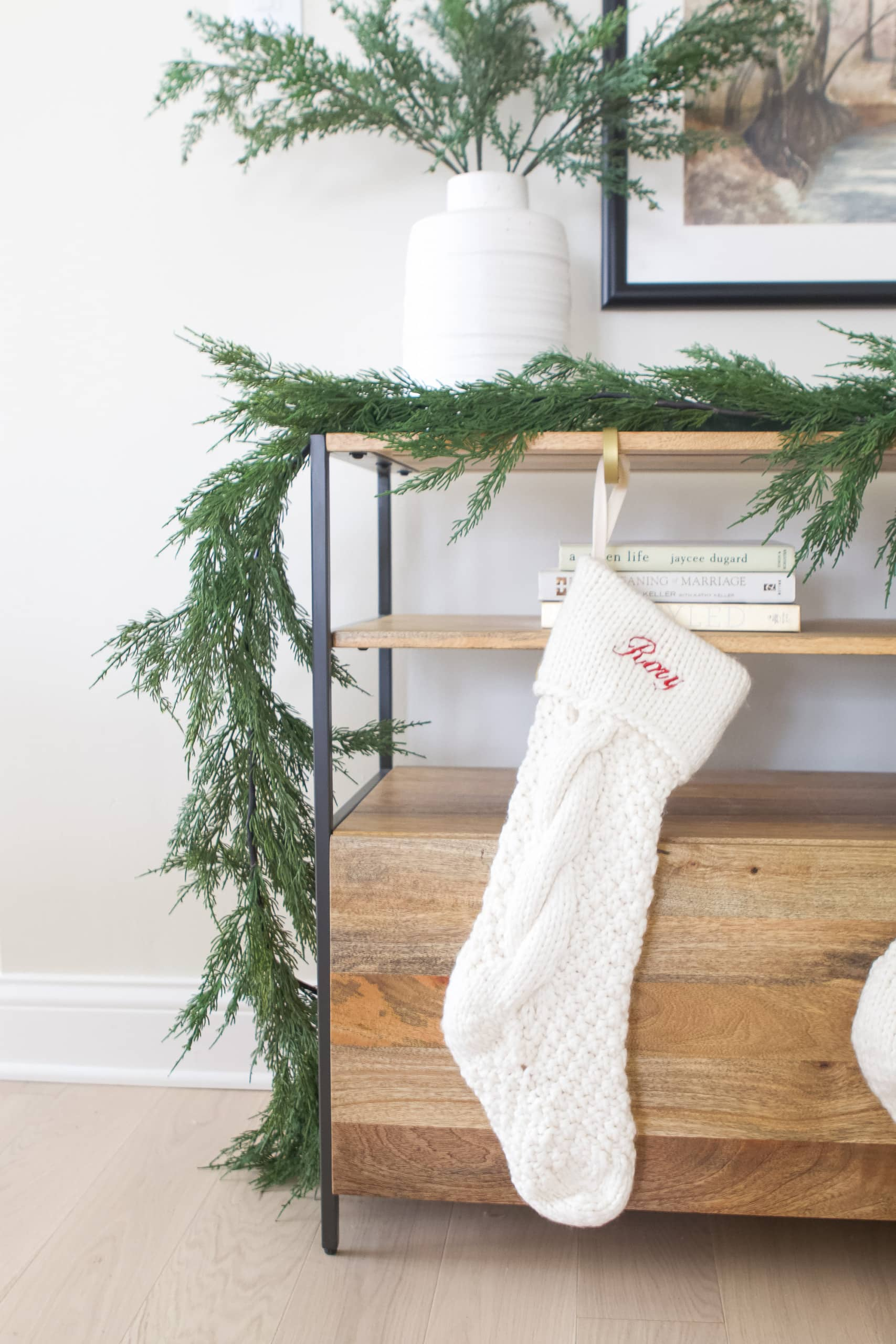 Rory's stocking hung on our entryway console