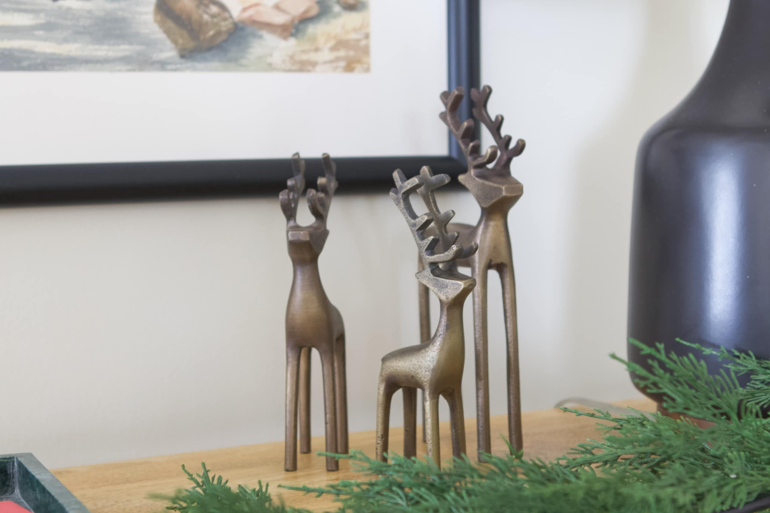 Metal reindeer on the front entryway table