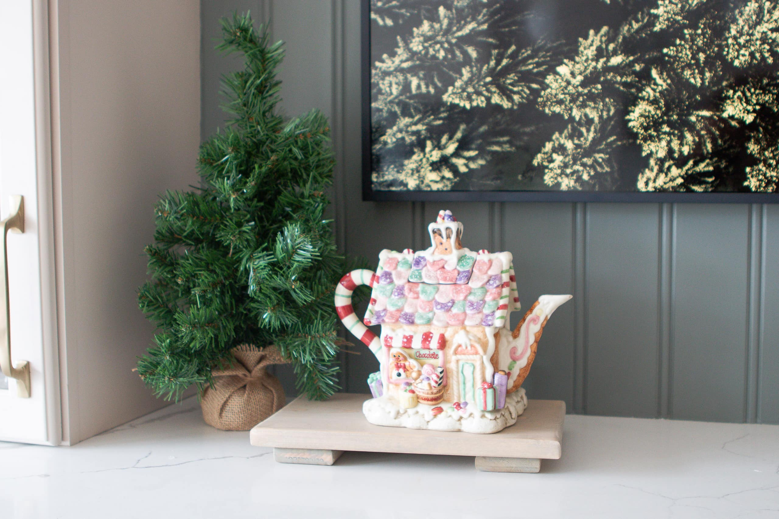 A gingerbread house teapot