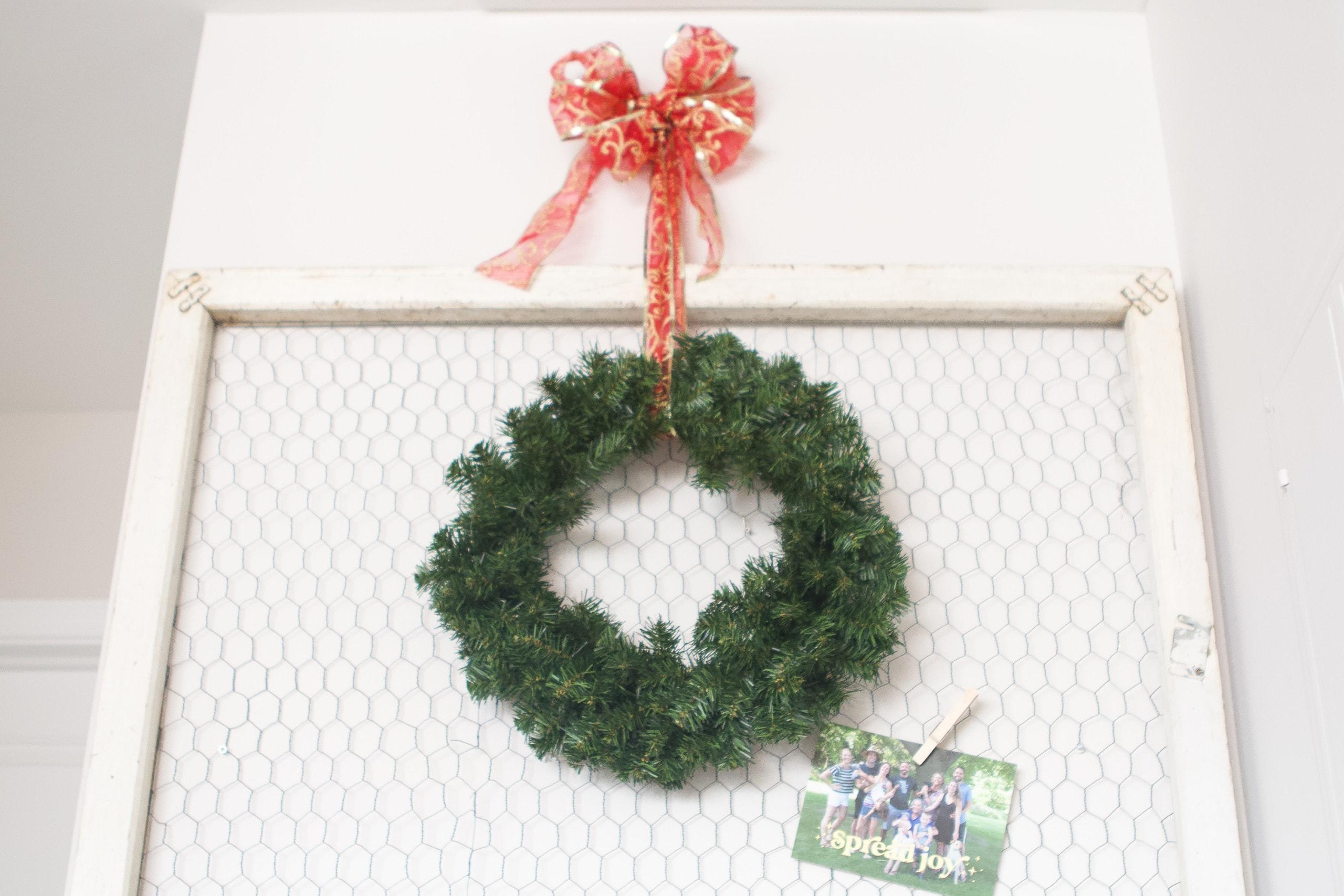 christmas wreath on the frame