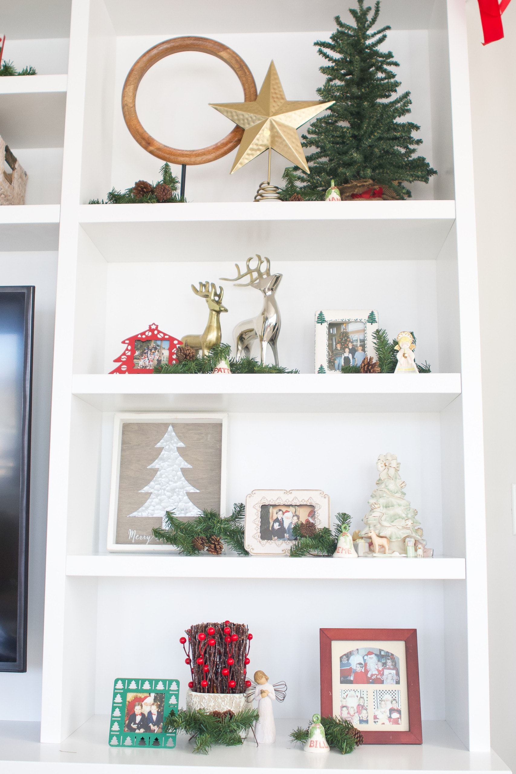 Add greenery to your shelves