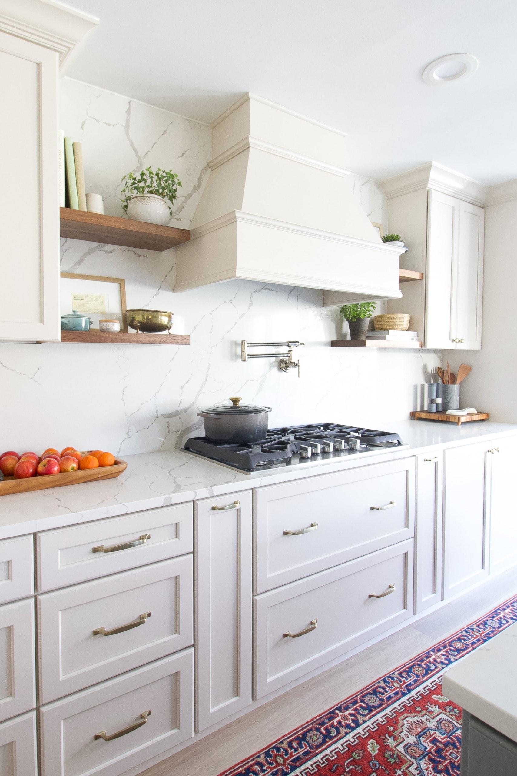 Adding open shelving near a hood in a kitchen