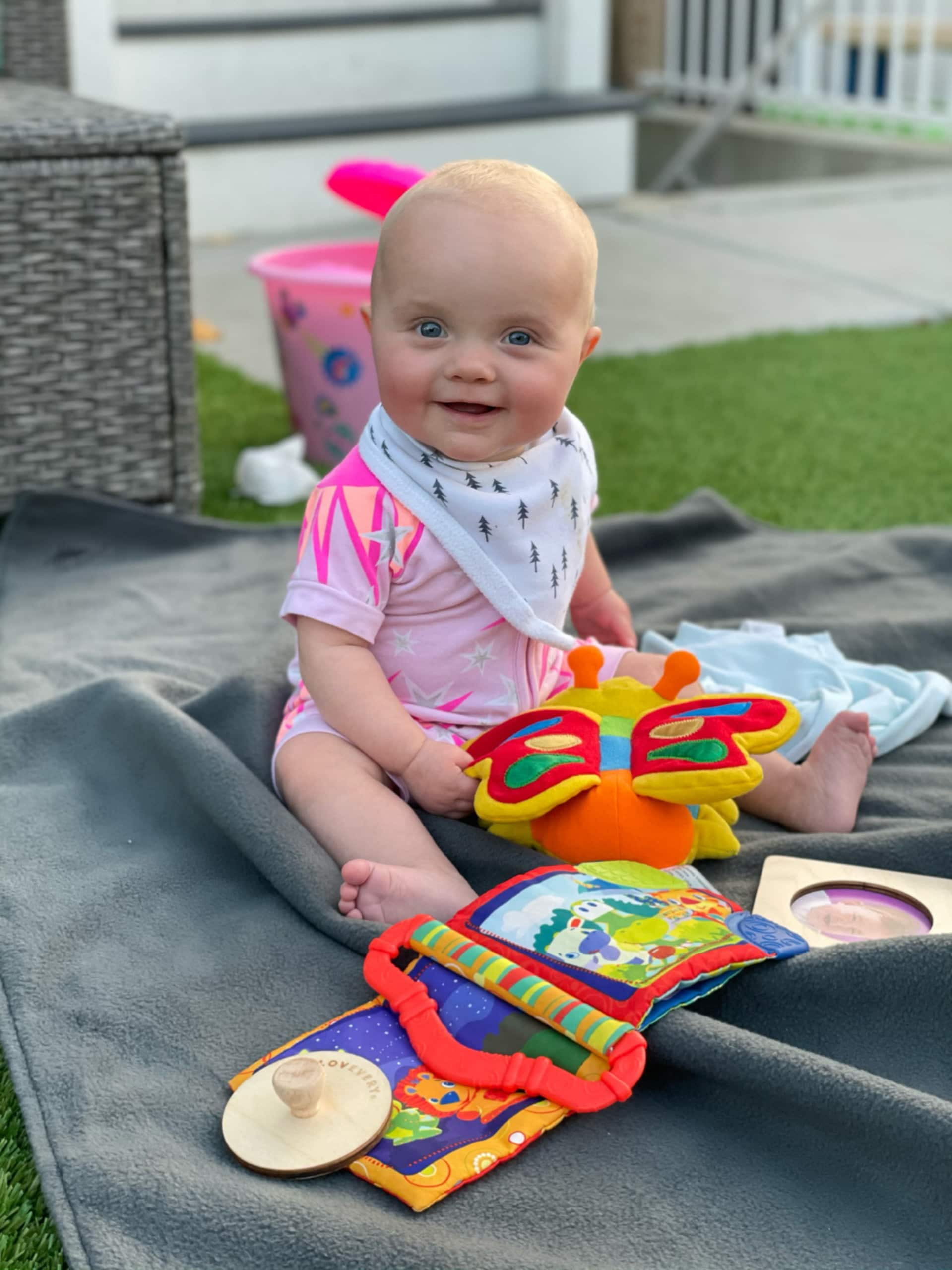 Rory sitting up on her own in November 2020