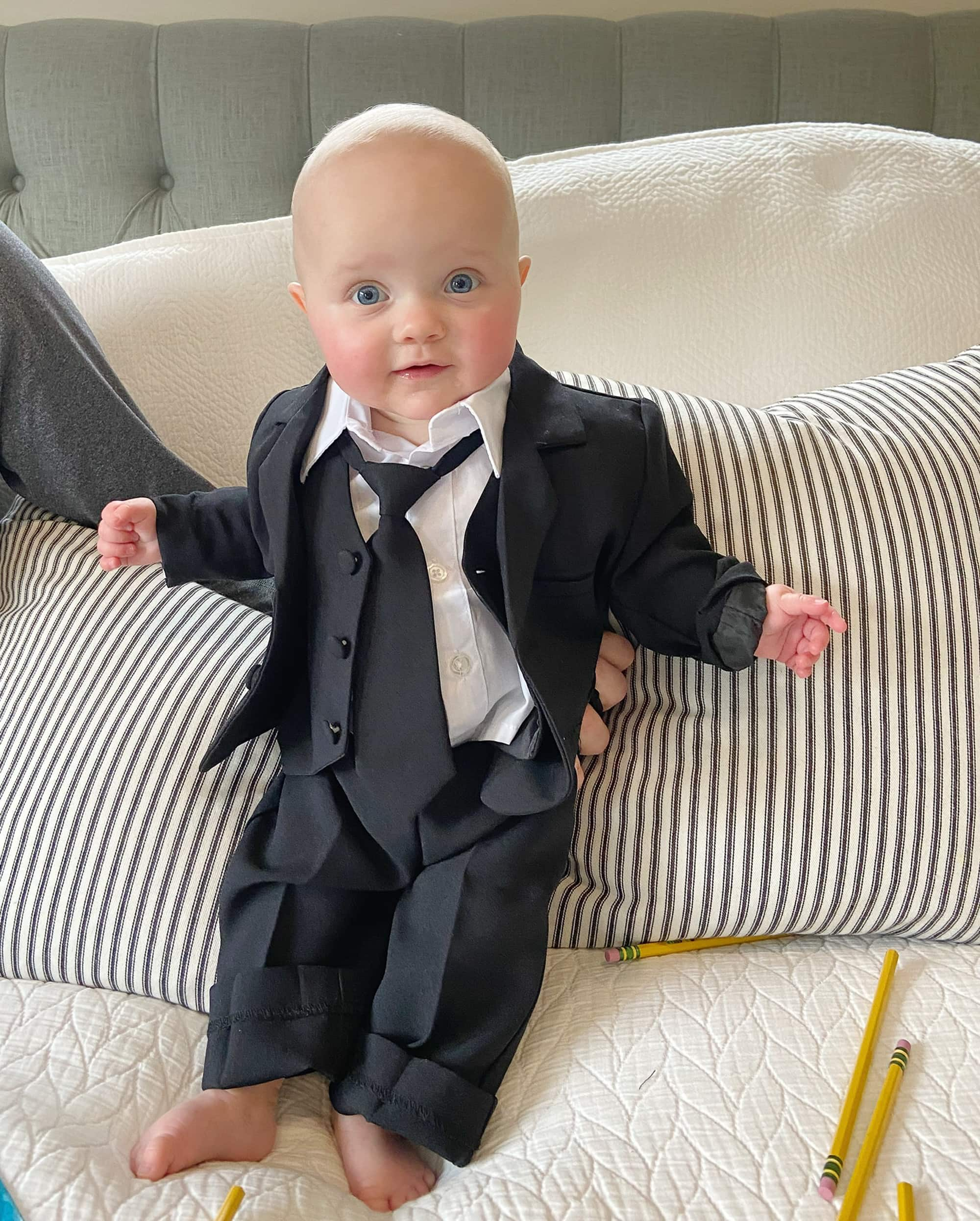 Rory as boss baby for halloween