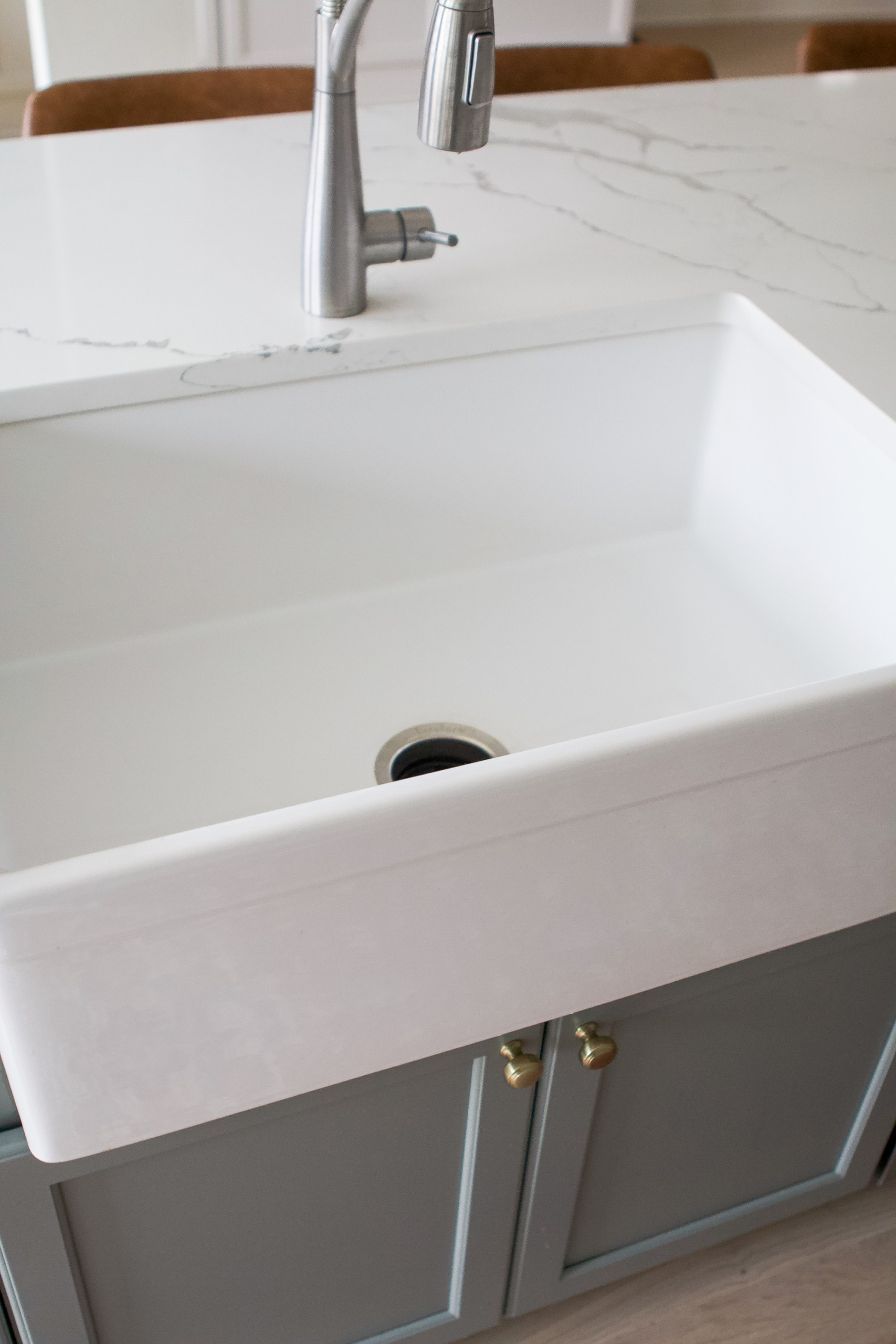 Our farmhouse sink from Elkay in our kitchen reveal video