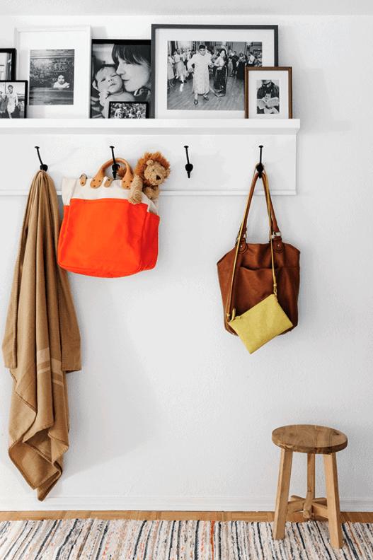 DIY coat rack to create an organized entryway