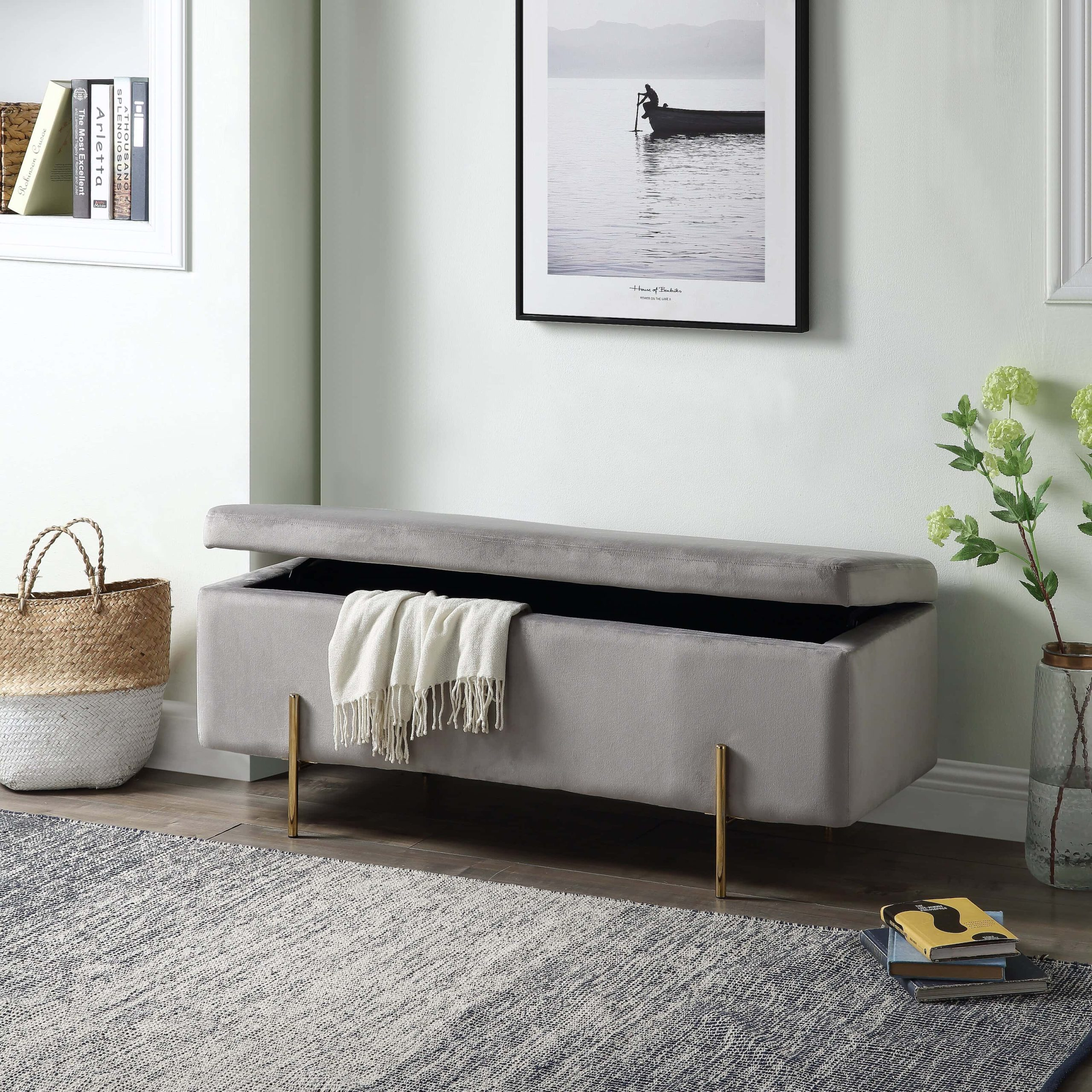 Upholstered bench for storage in an organized entryway