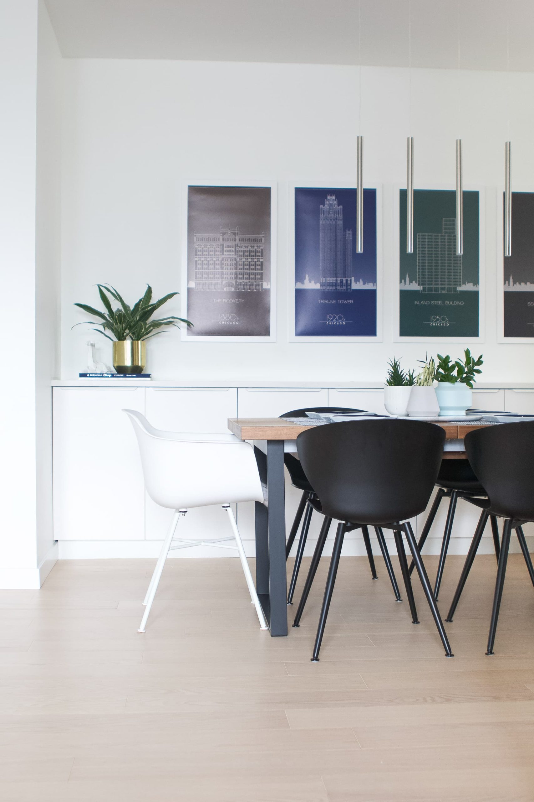 Dining room with modern elements