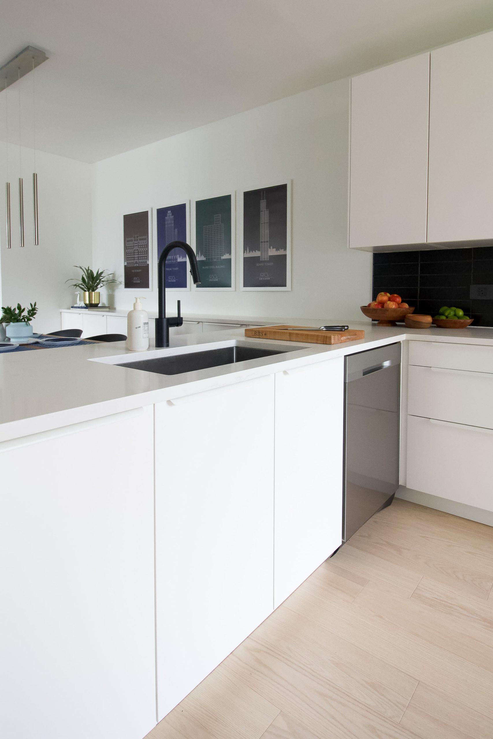 White sleek cabinets