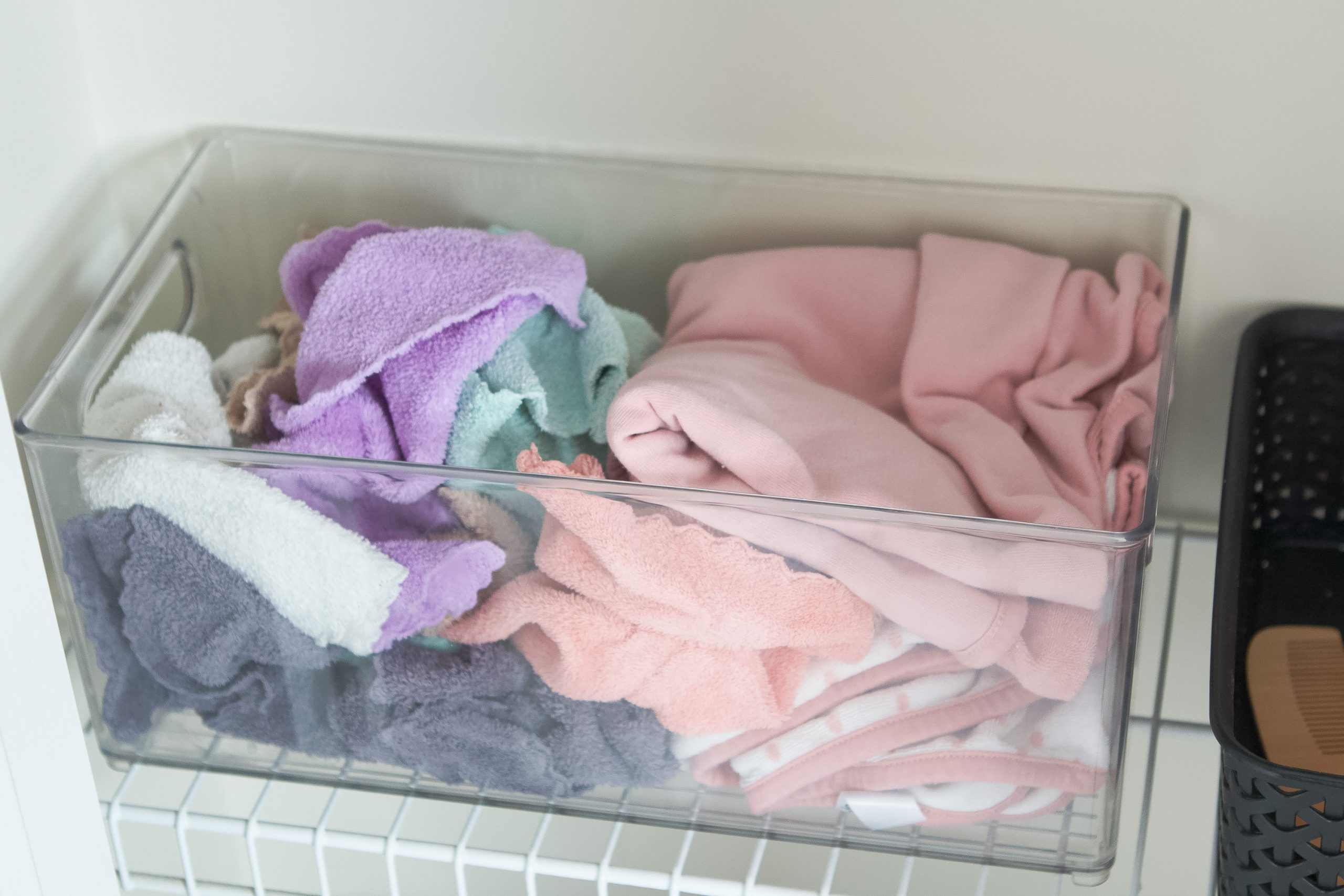 Rory's bath items in the closet