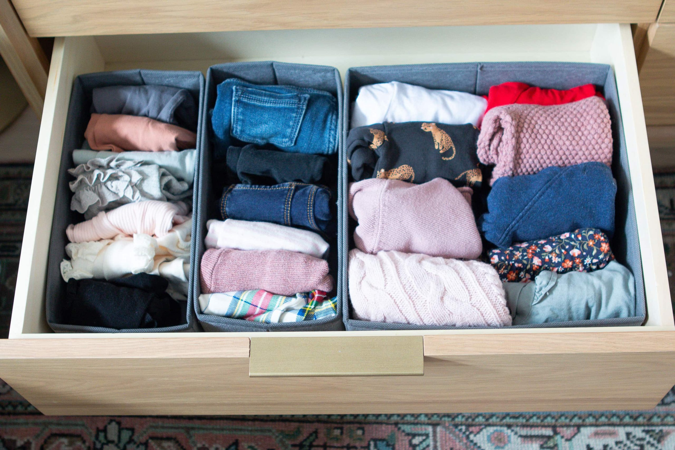 Rory's real clothes organized in here