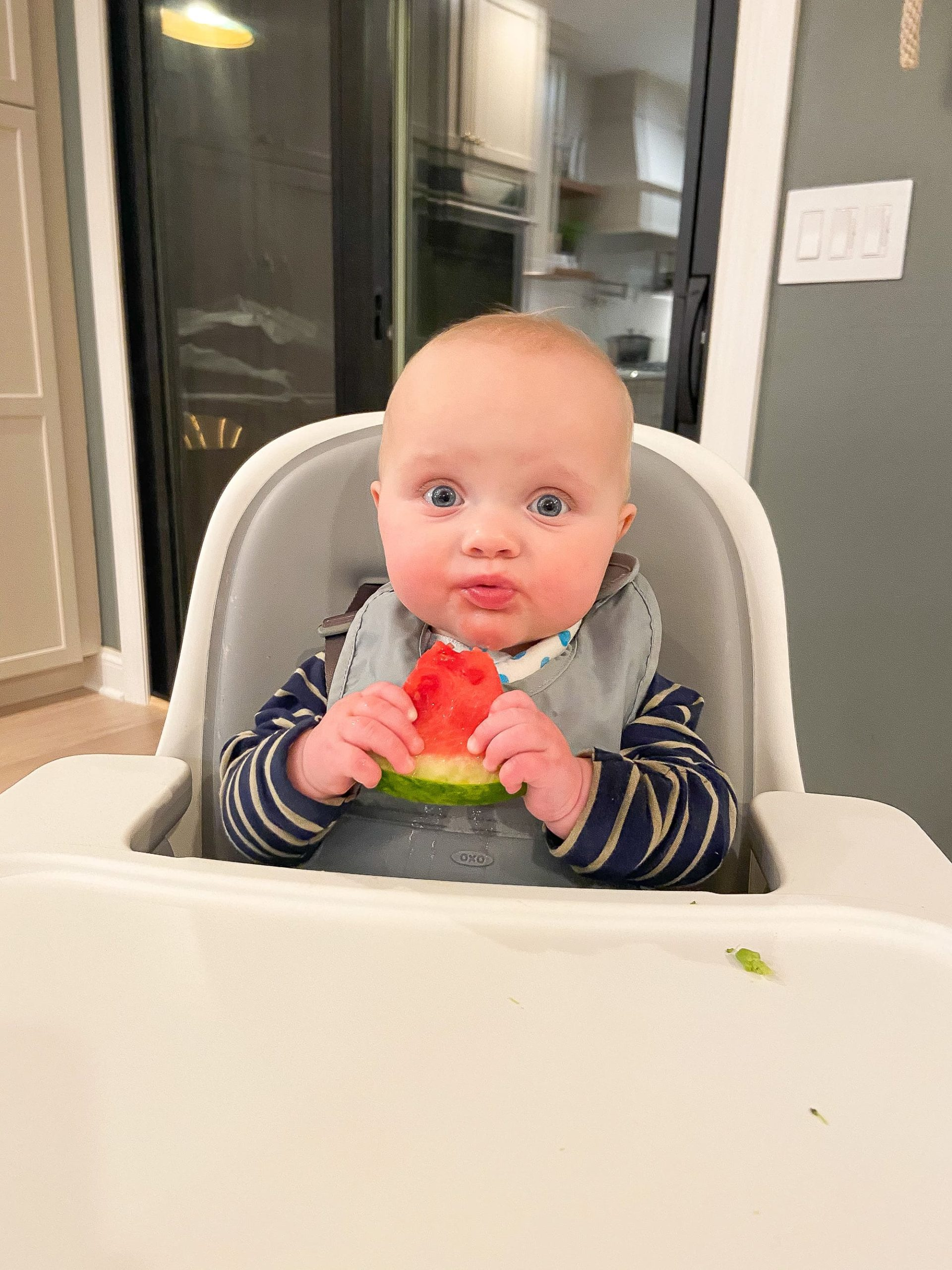Rory eating watermelon from baby led weaning