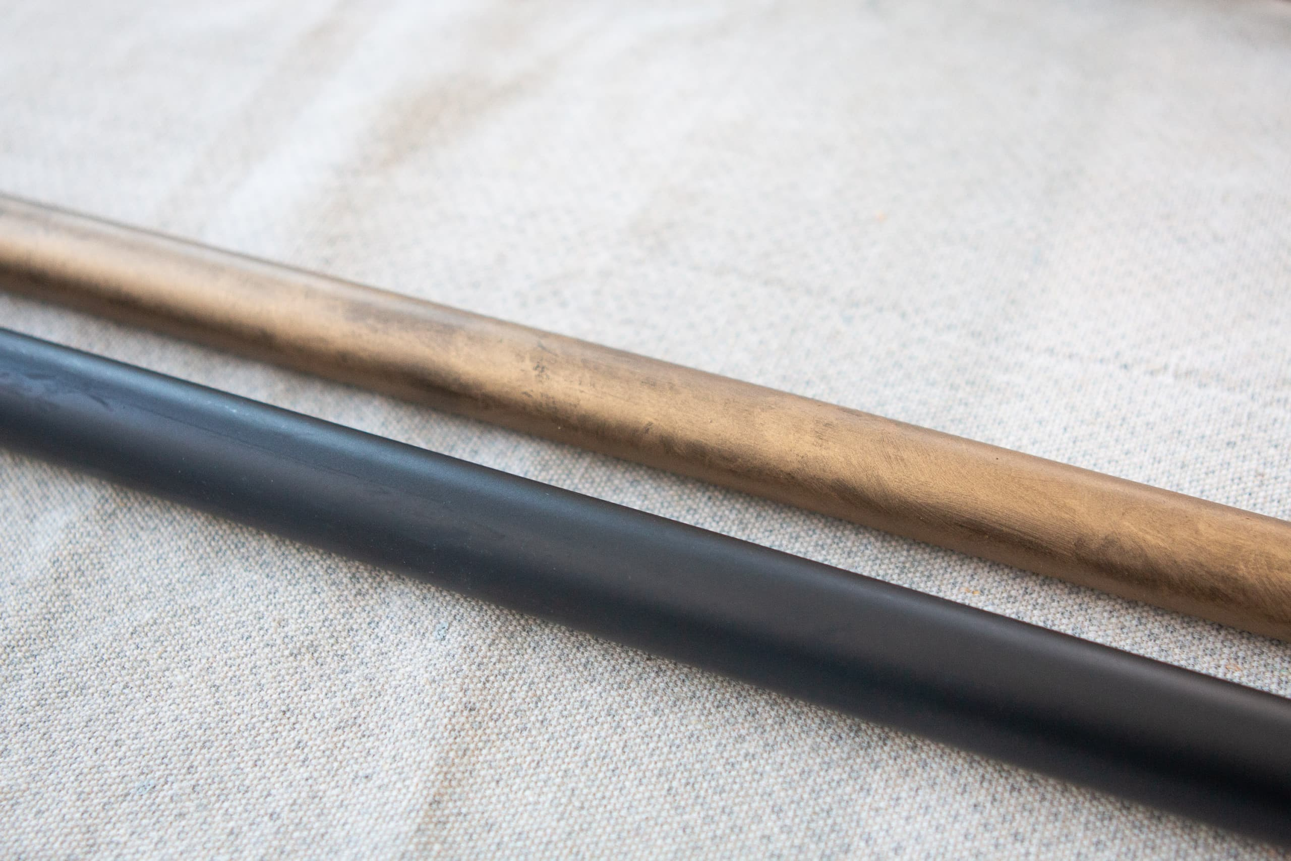 How to paint a black curtain rod gold