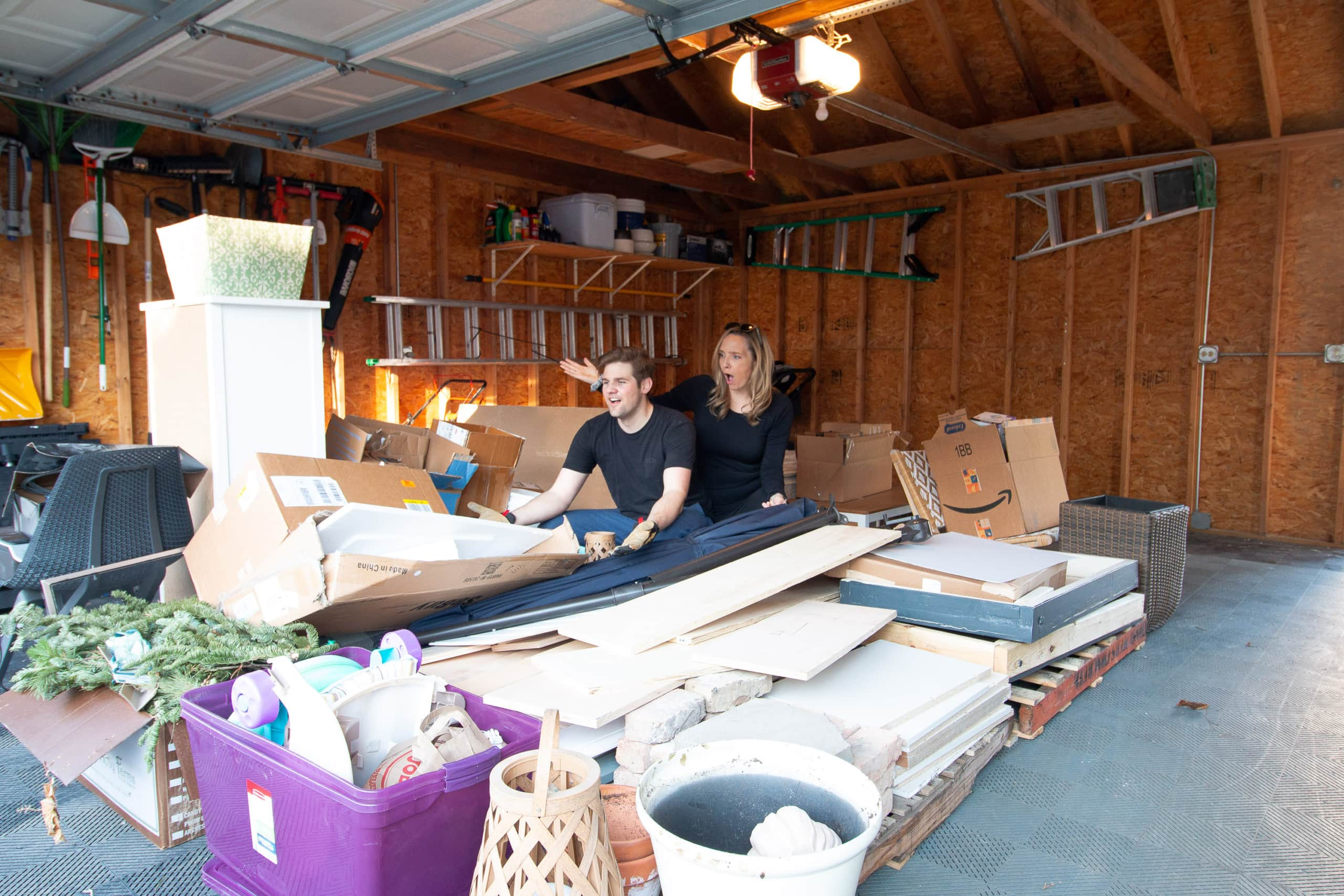 Our very full garage of junk