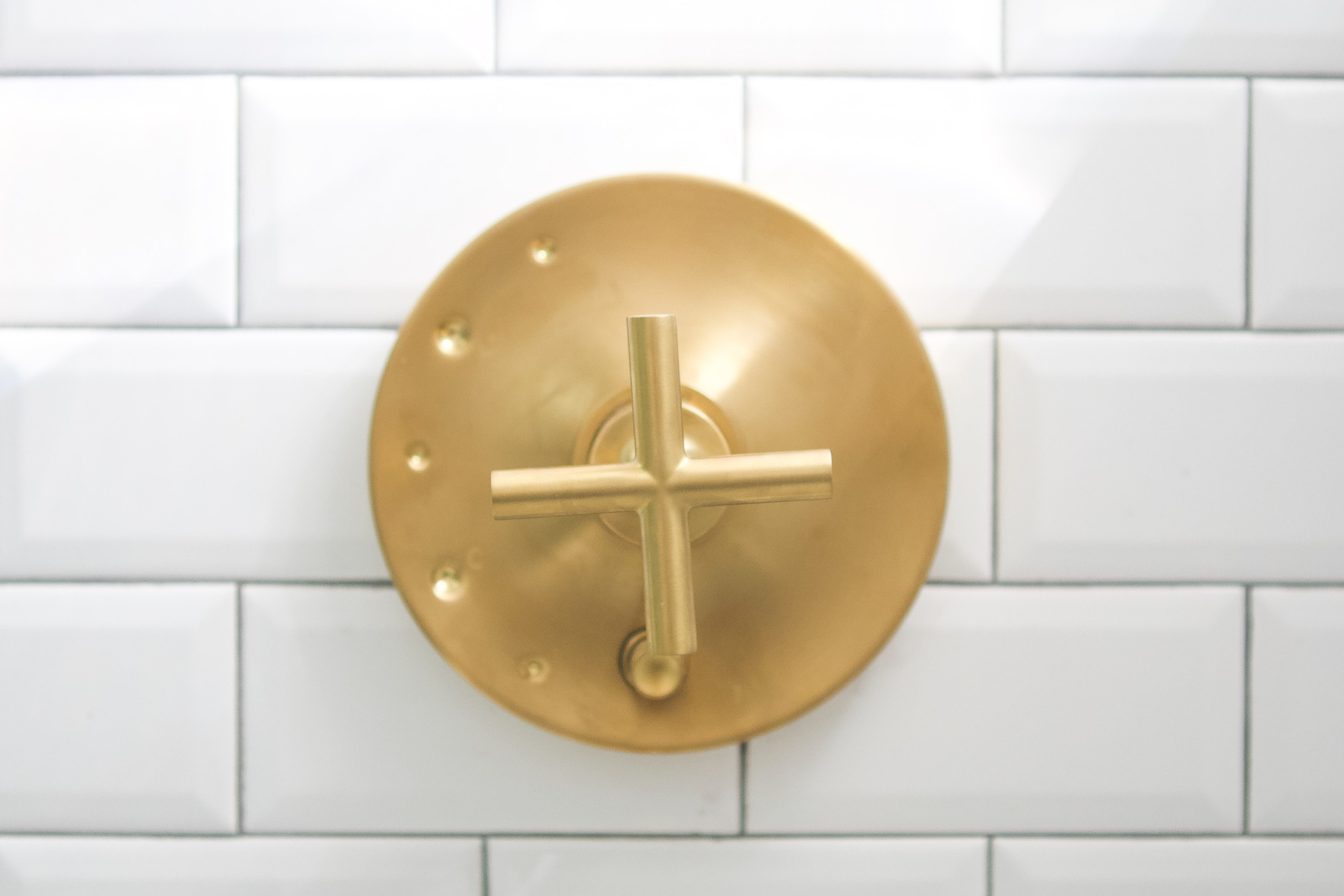Brushed brass hardware in the shower