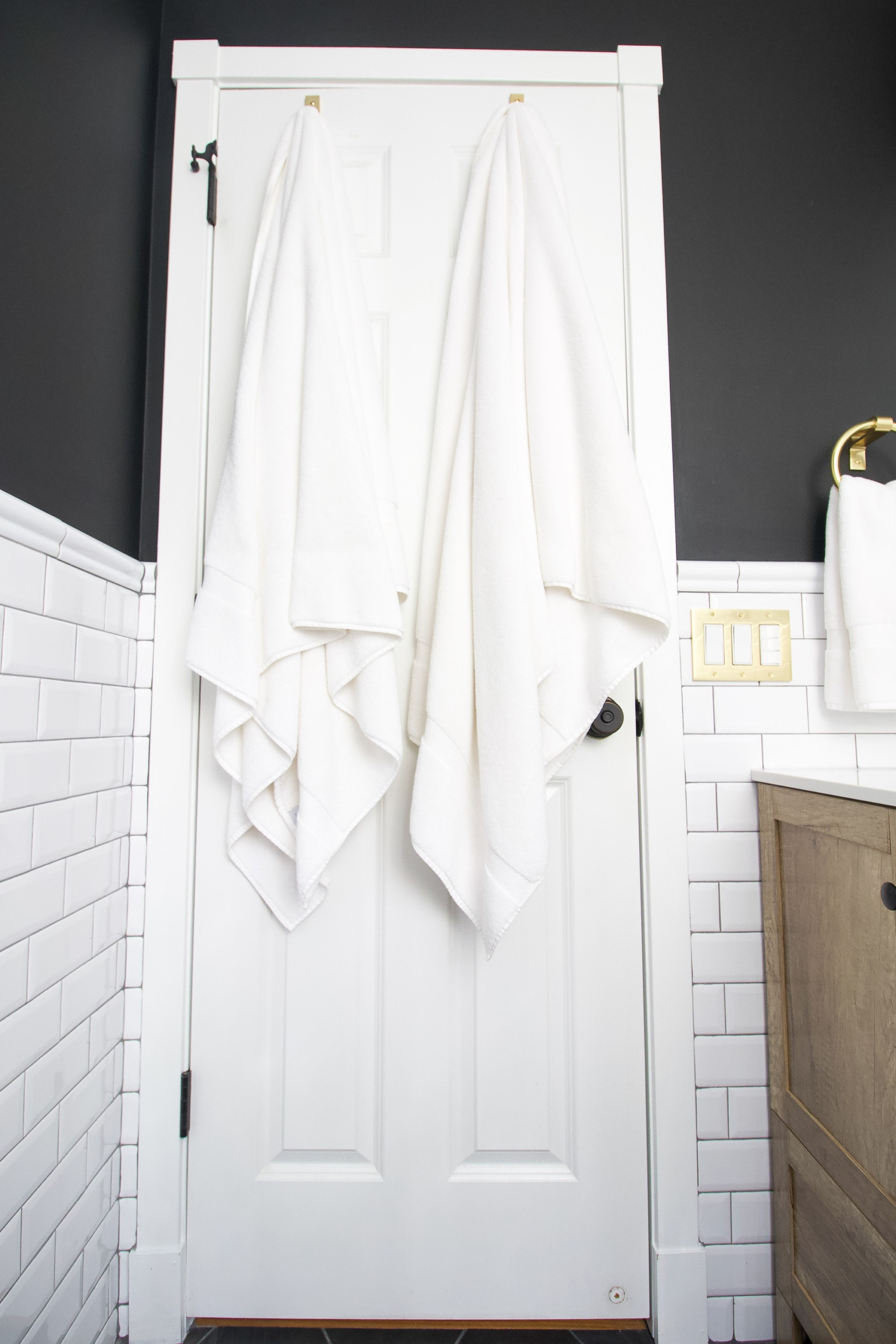 Adding lots of black and white to a bathroom space