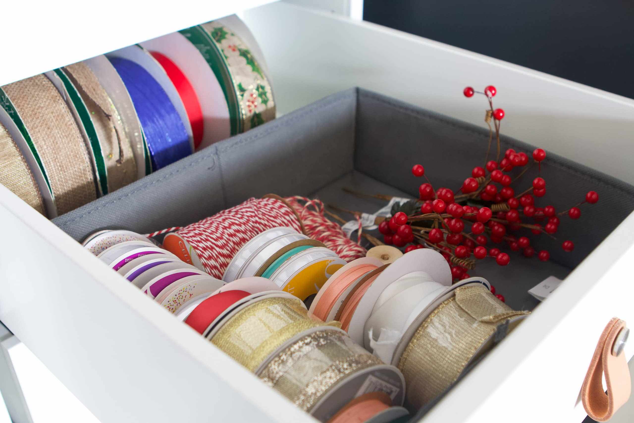 Gifting supplies and ribbons in a drawer