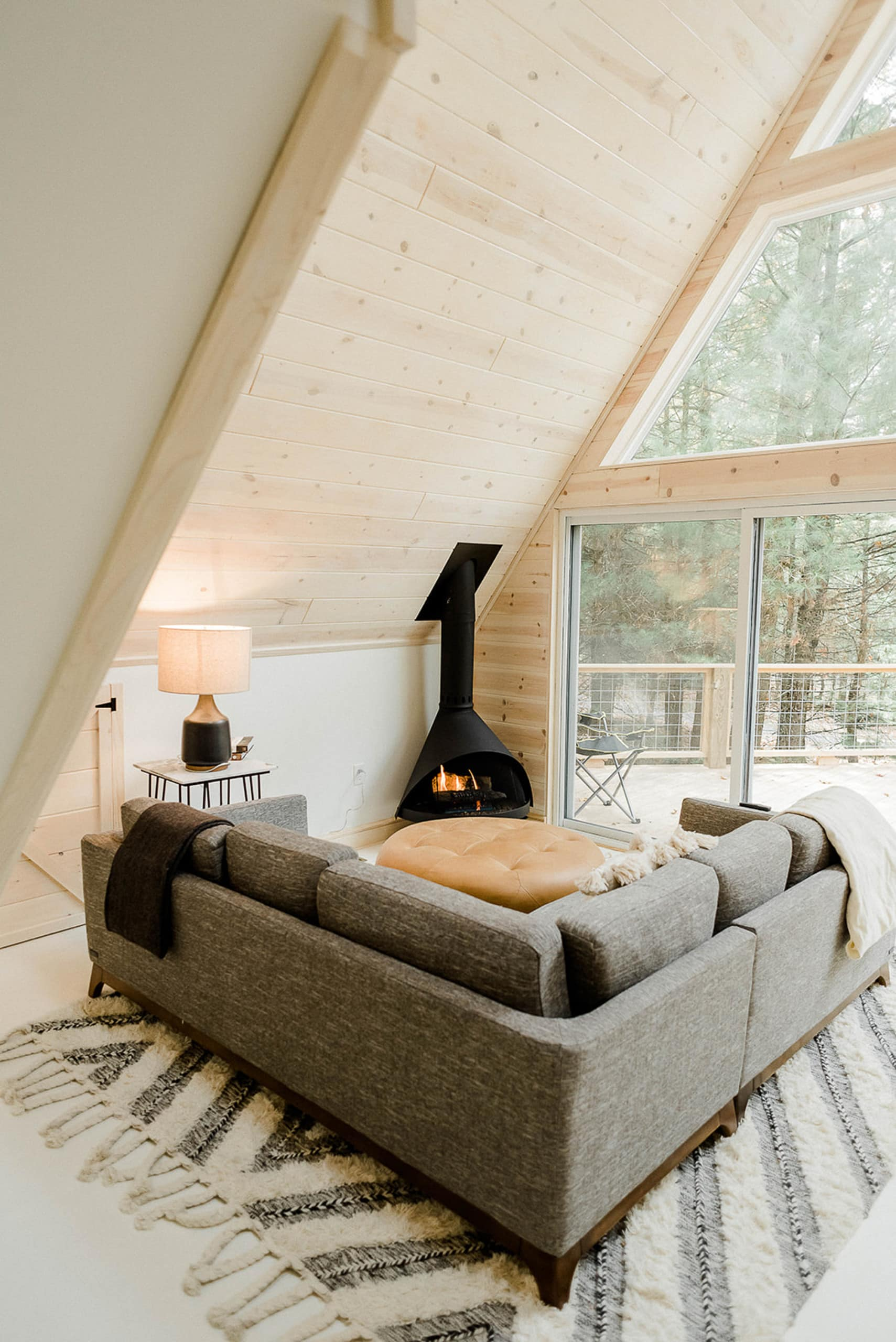A cozy living room in a cabin