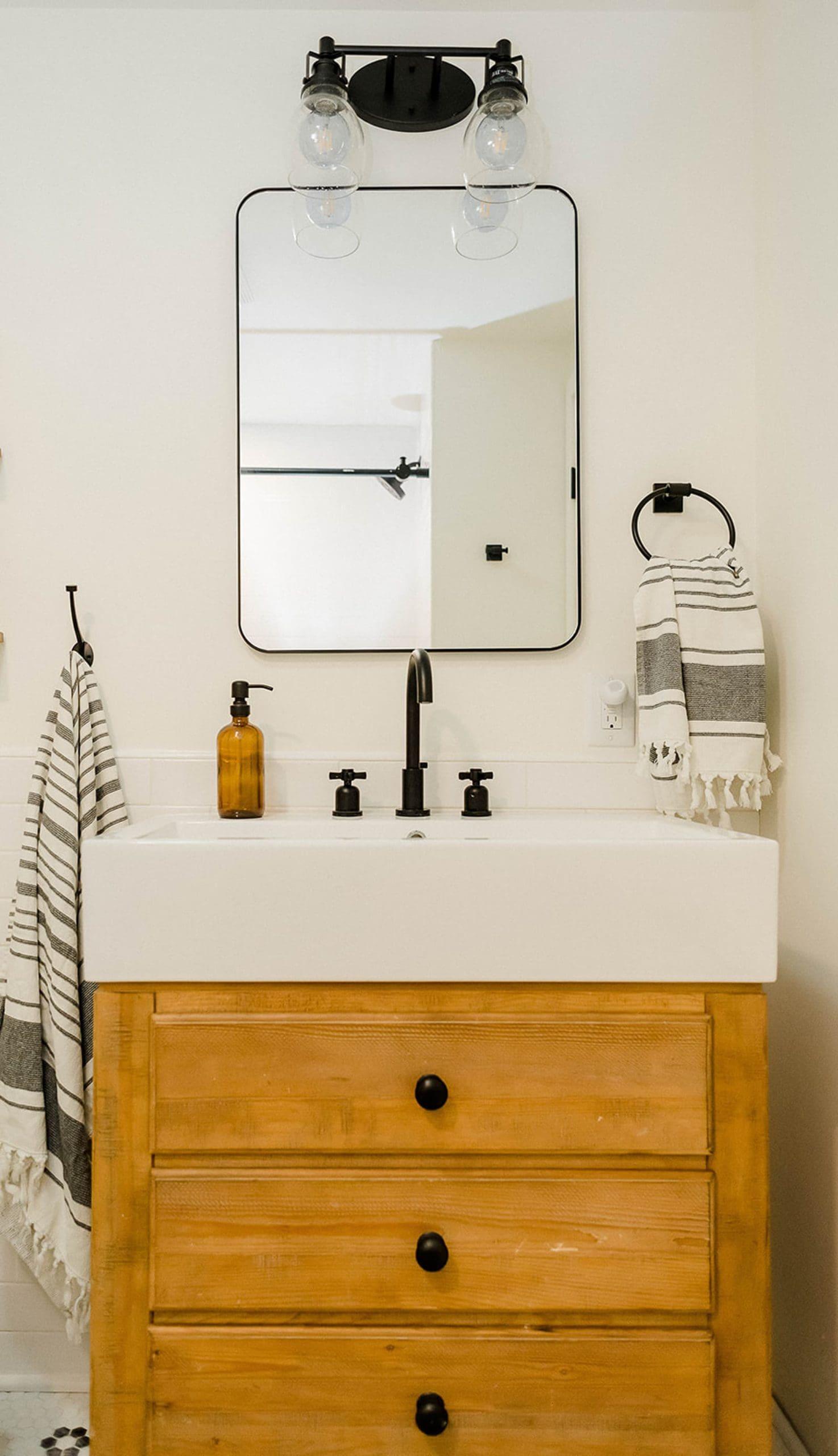Rustic wood vanity