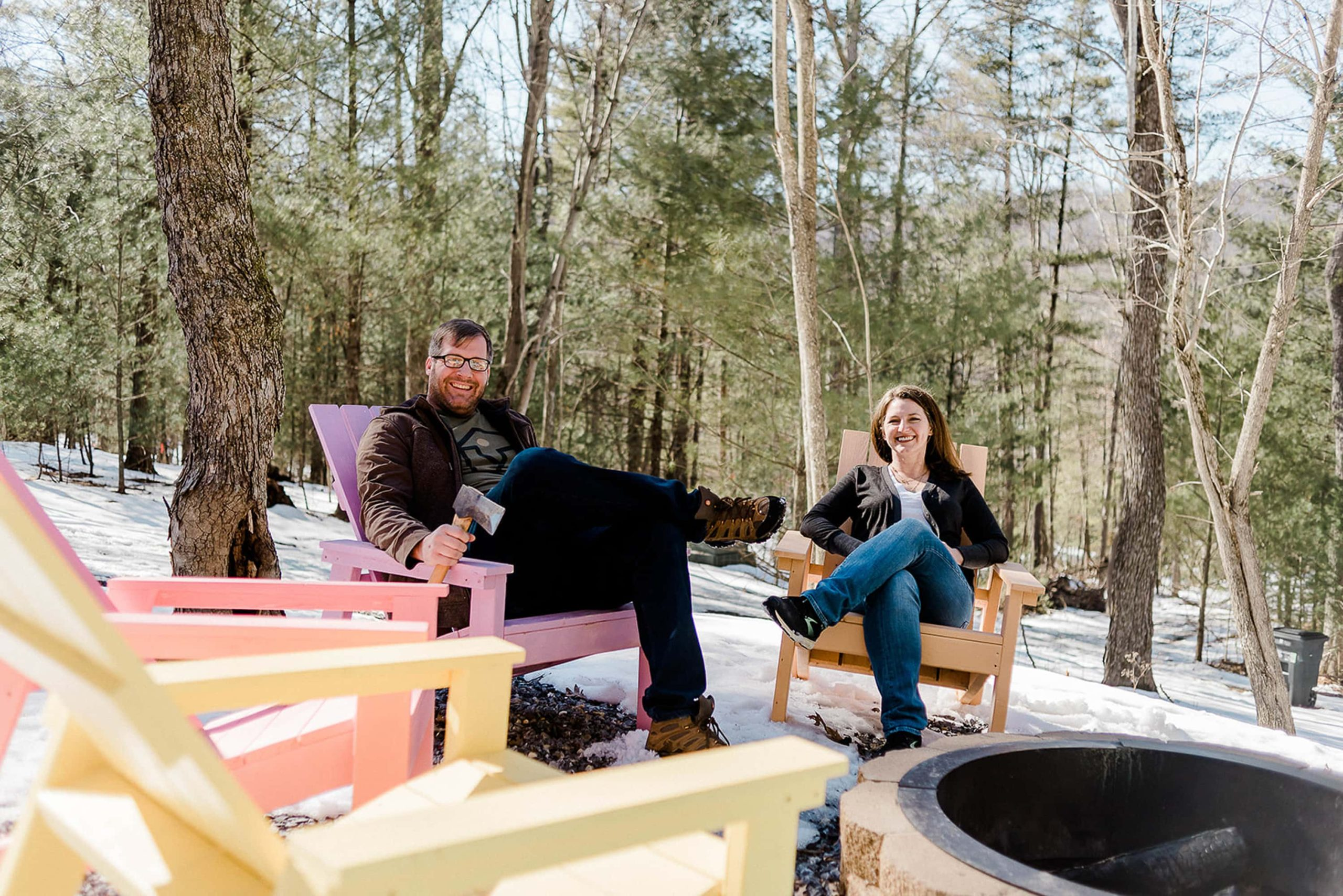 John and Vanessa at their DIY cabin in West Virginia