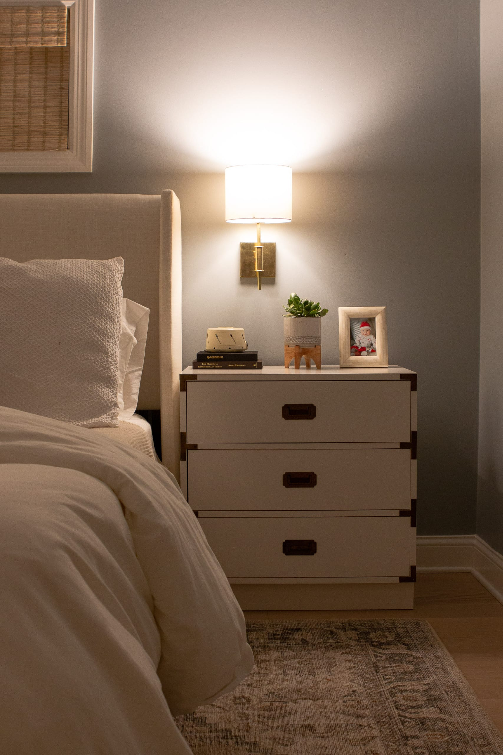 Our home tour at night with warm sconces on