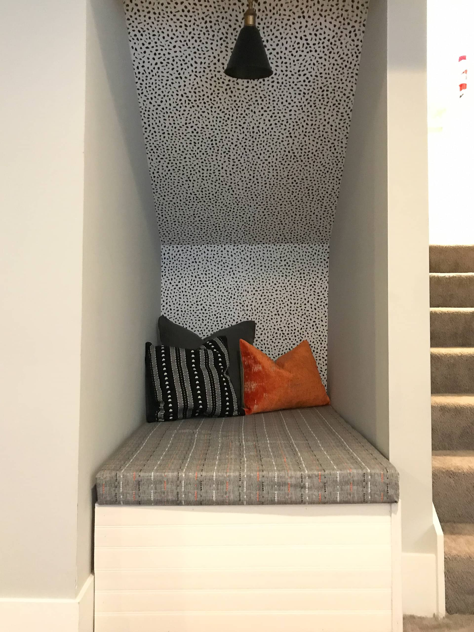 Room refresh - reading nook under the stairs
