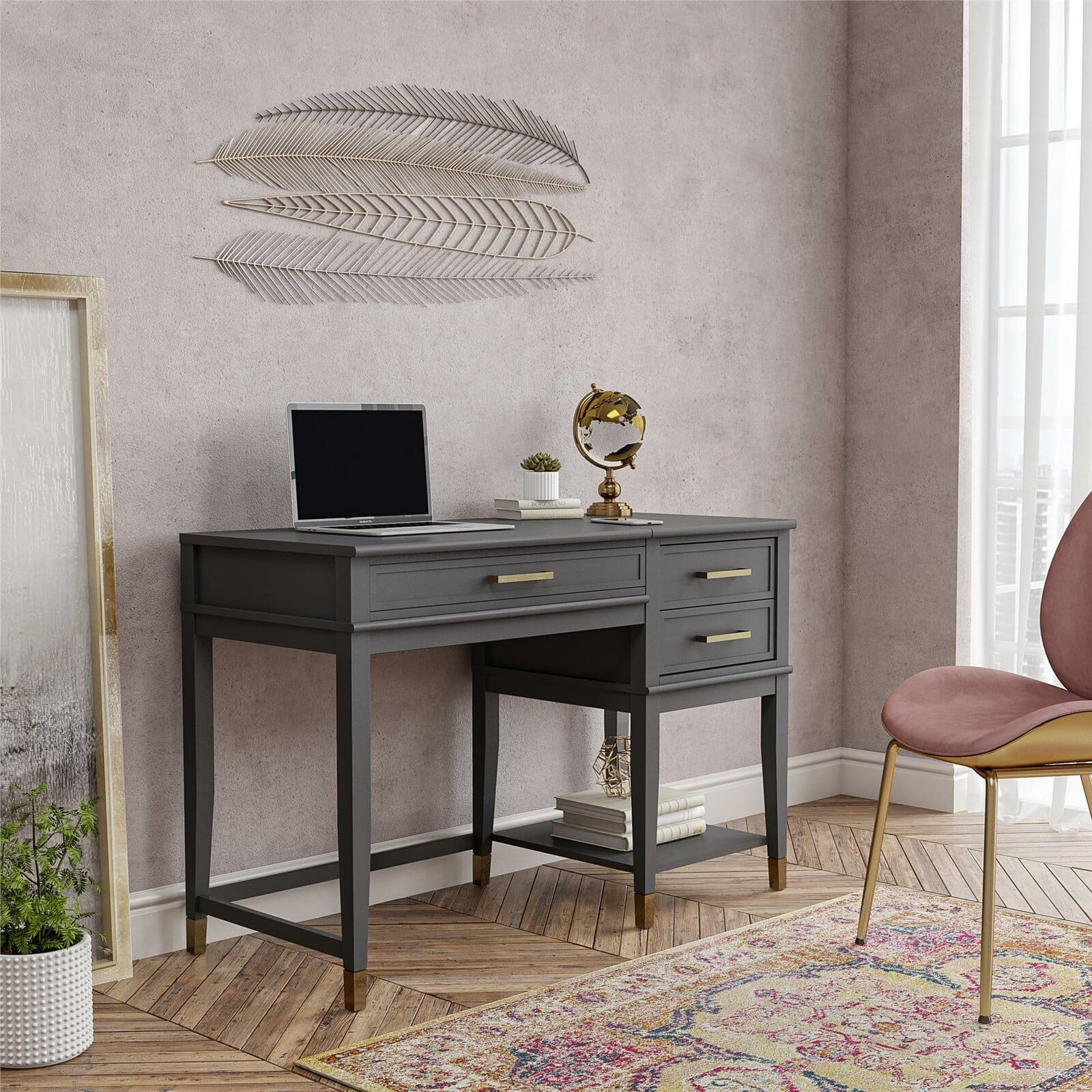 Gray blue desk from Wayfair for this office and bedroom combo space