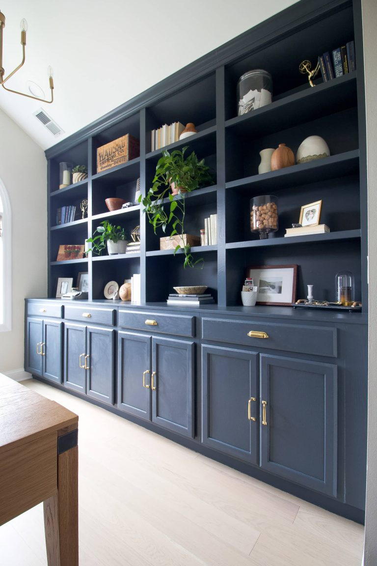 Home tour before and after with our navy office built-ins