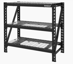 Shelving unit from Lowe's for the garage