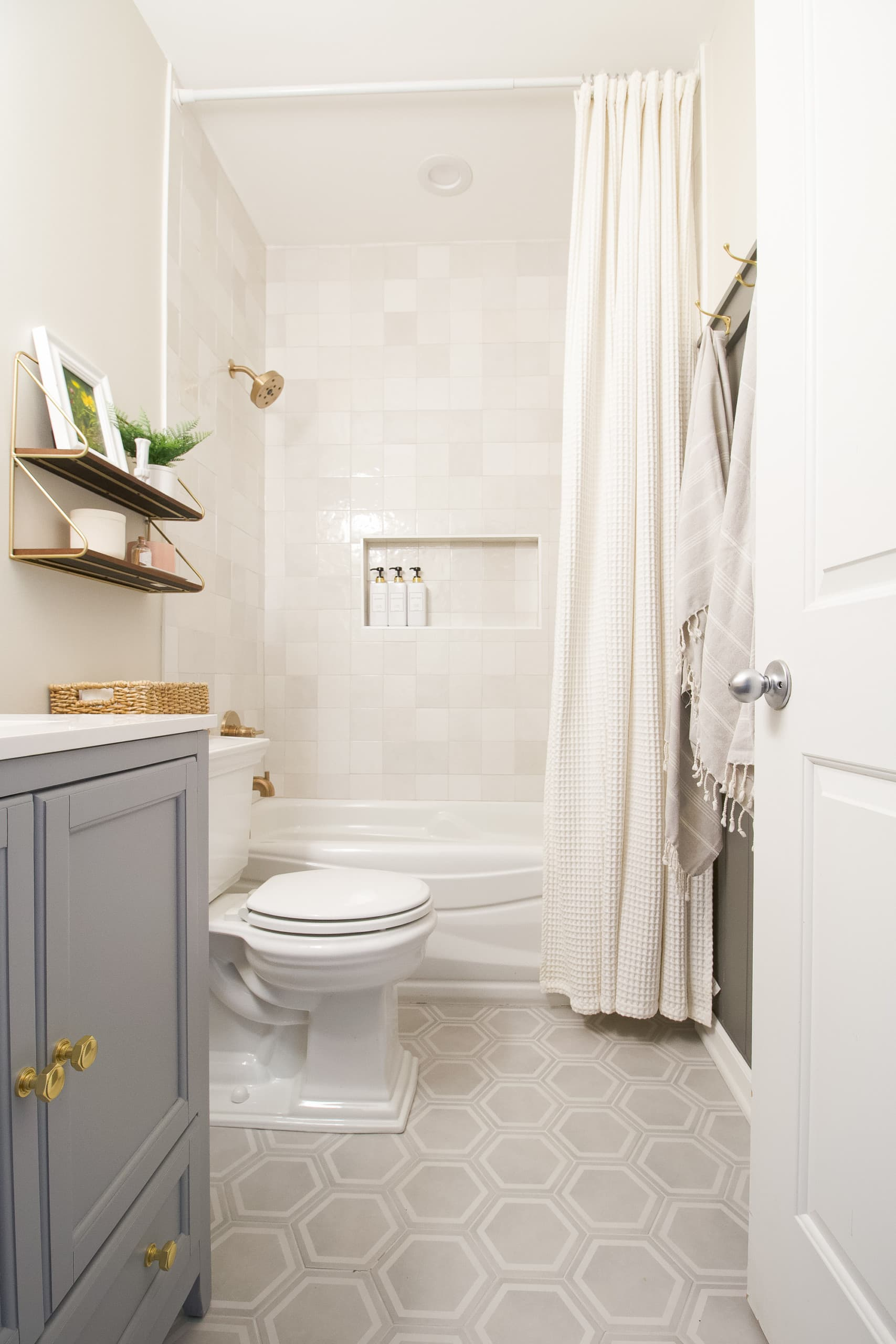 A gray and gold bathroom reveal