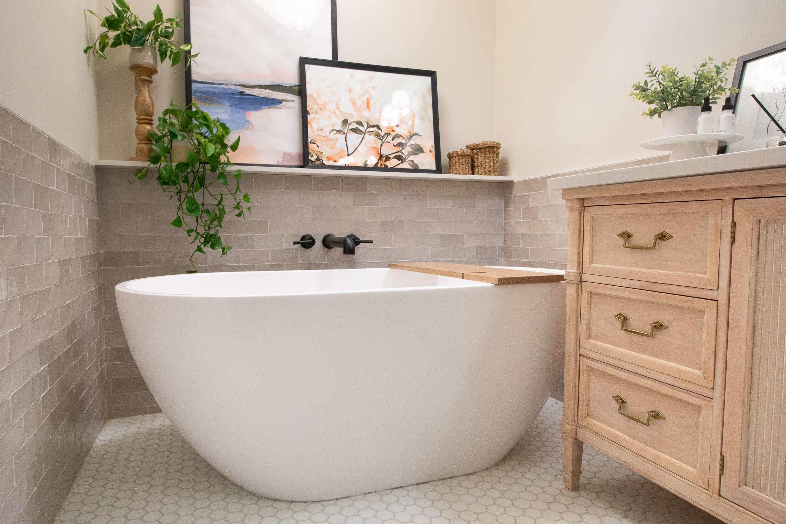 A freestanding tub in a bathroom