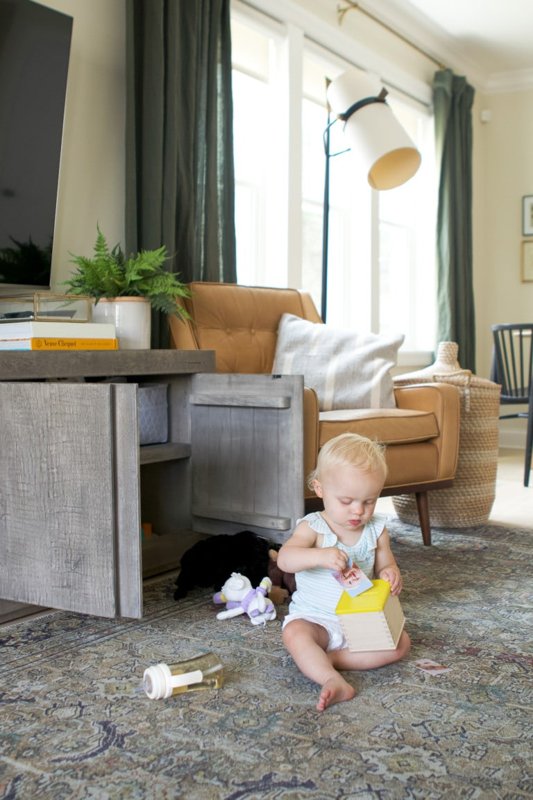 Rory playing with her toys