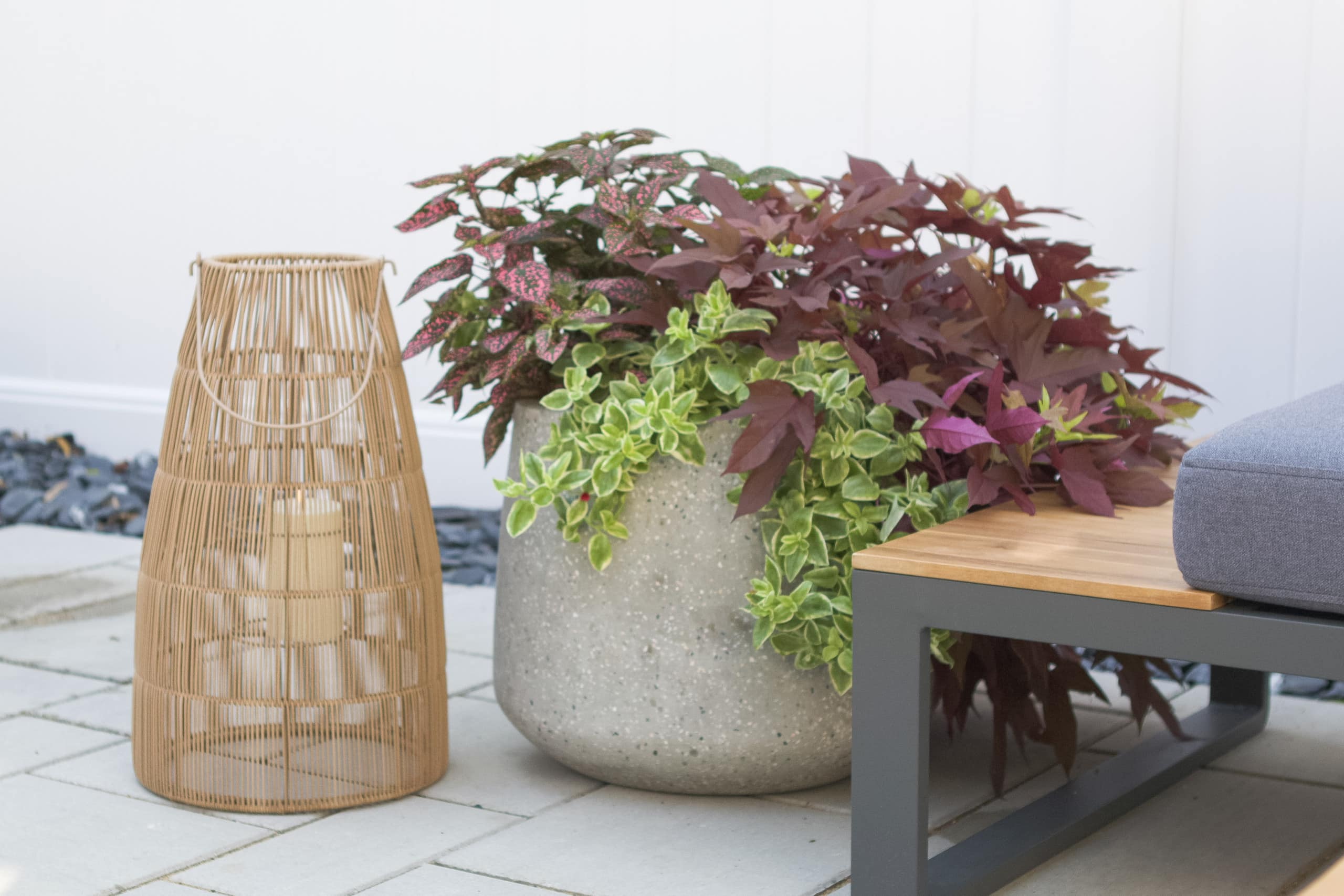 Large planters and lantern outdoor accessories