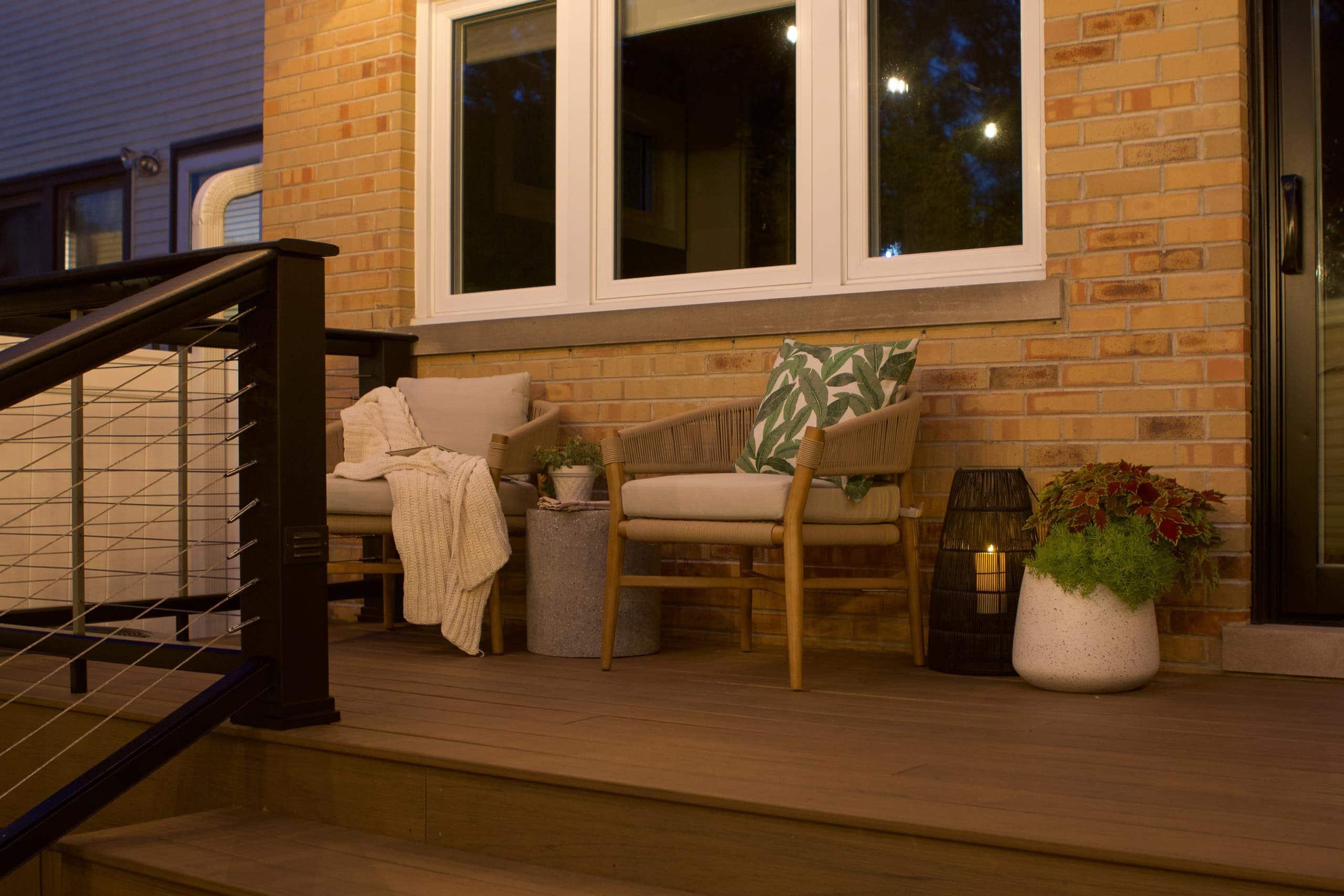Enjoying our patio at night
