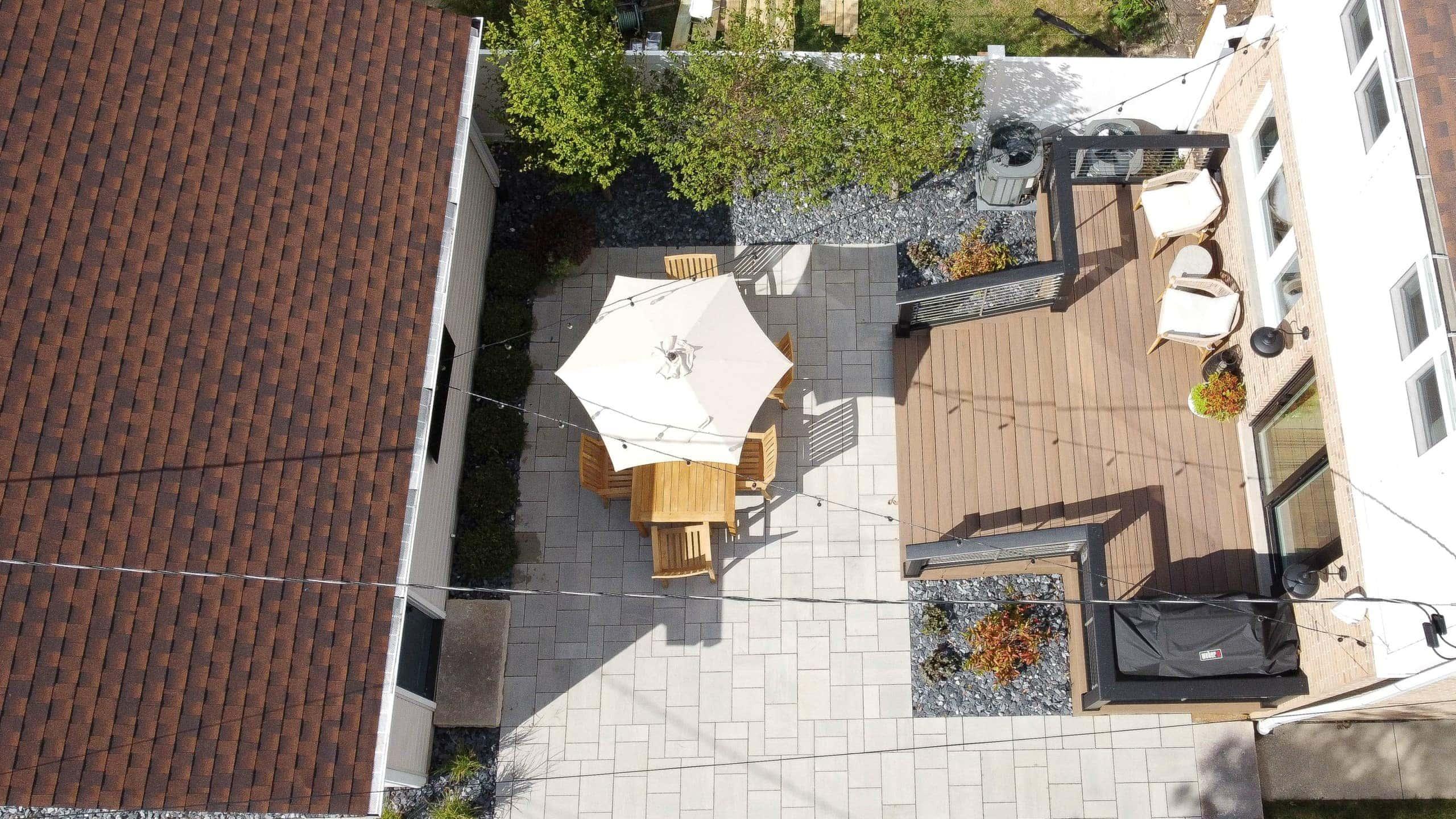 backyard drone shot overhead