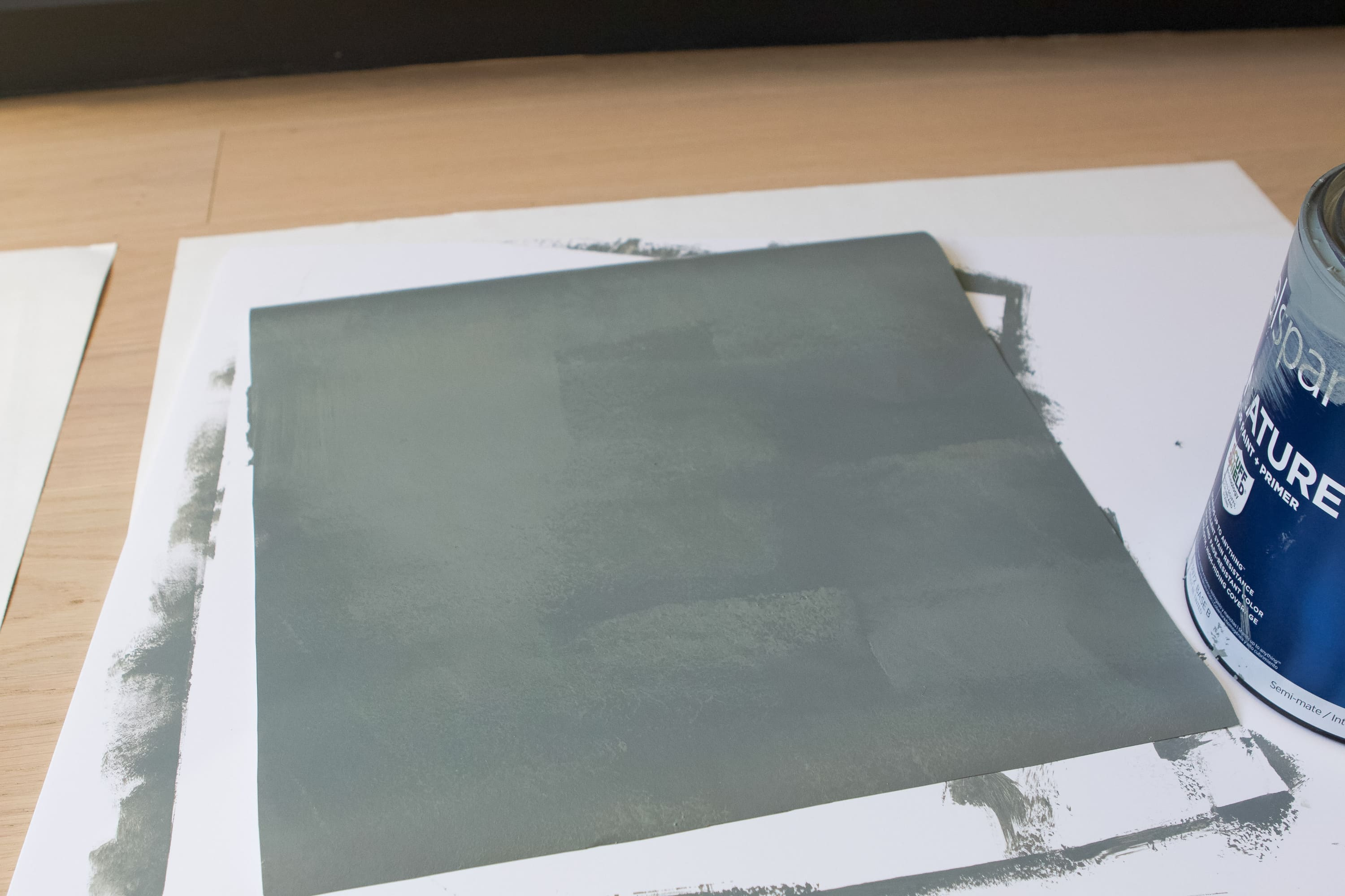 Painting a posterboard green