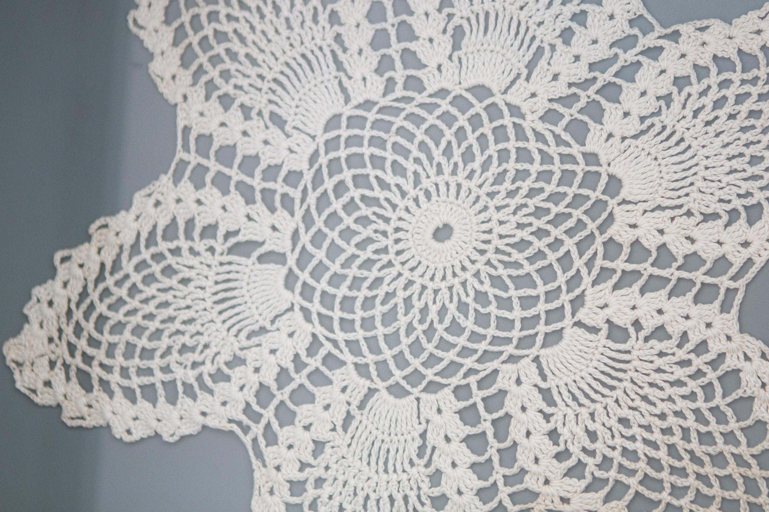 The details of a crocheted doily
